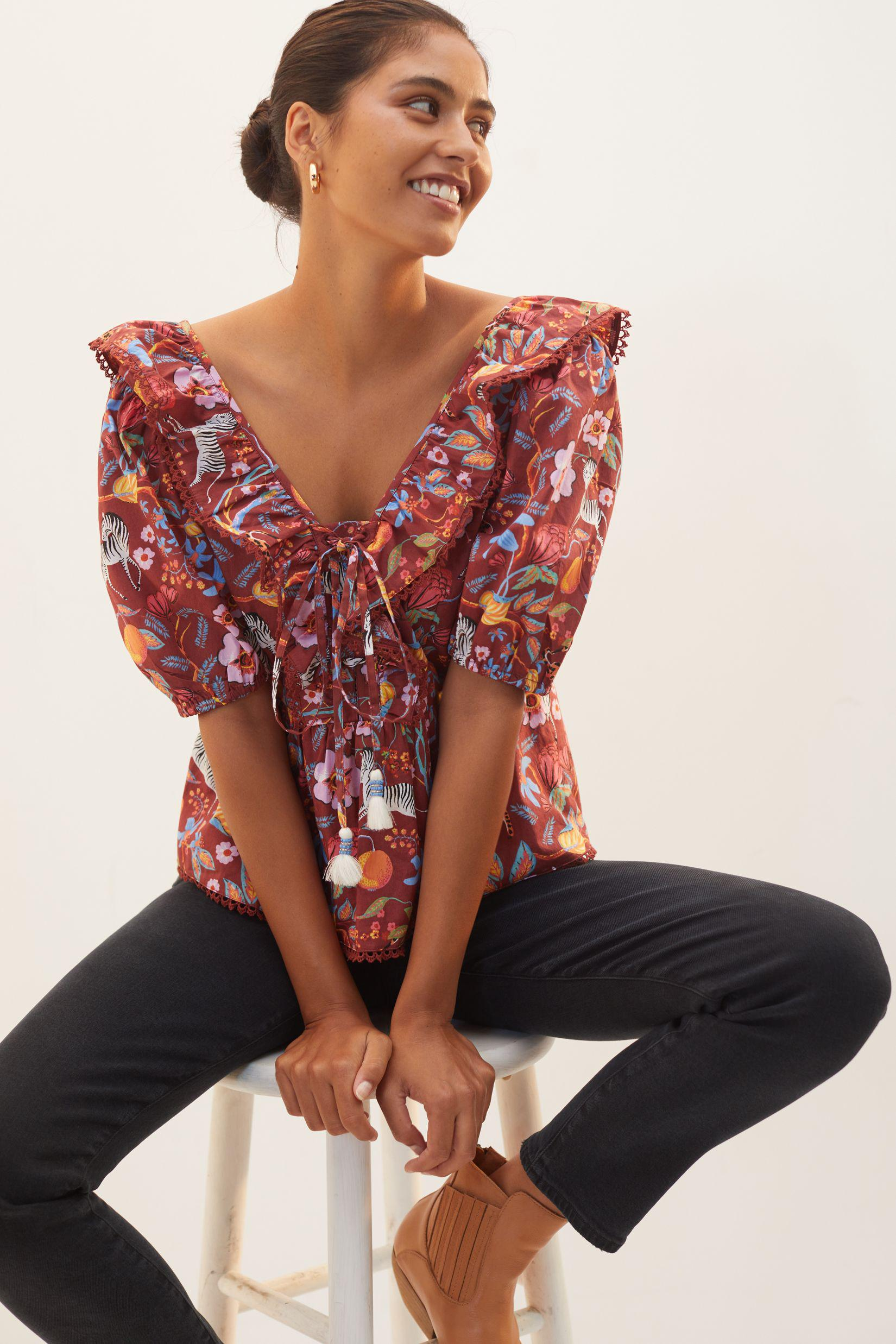 Maeve Ruffled Tie-Front Blouse