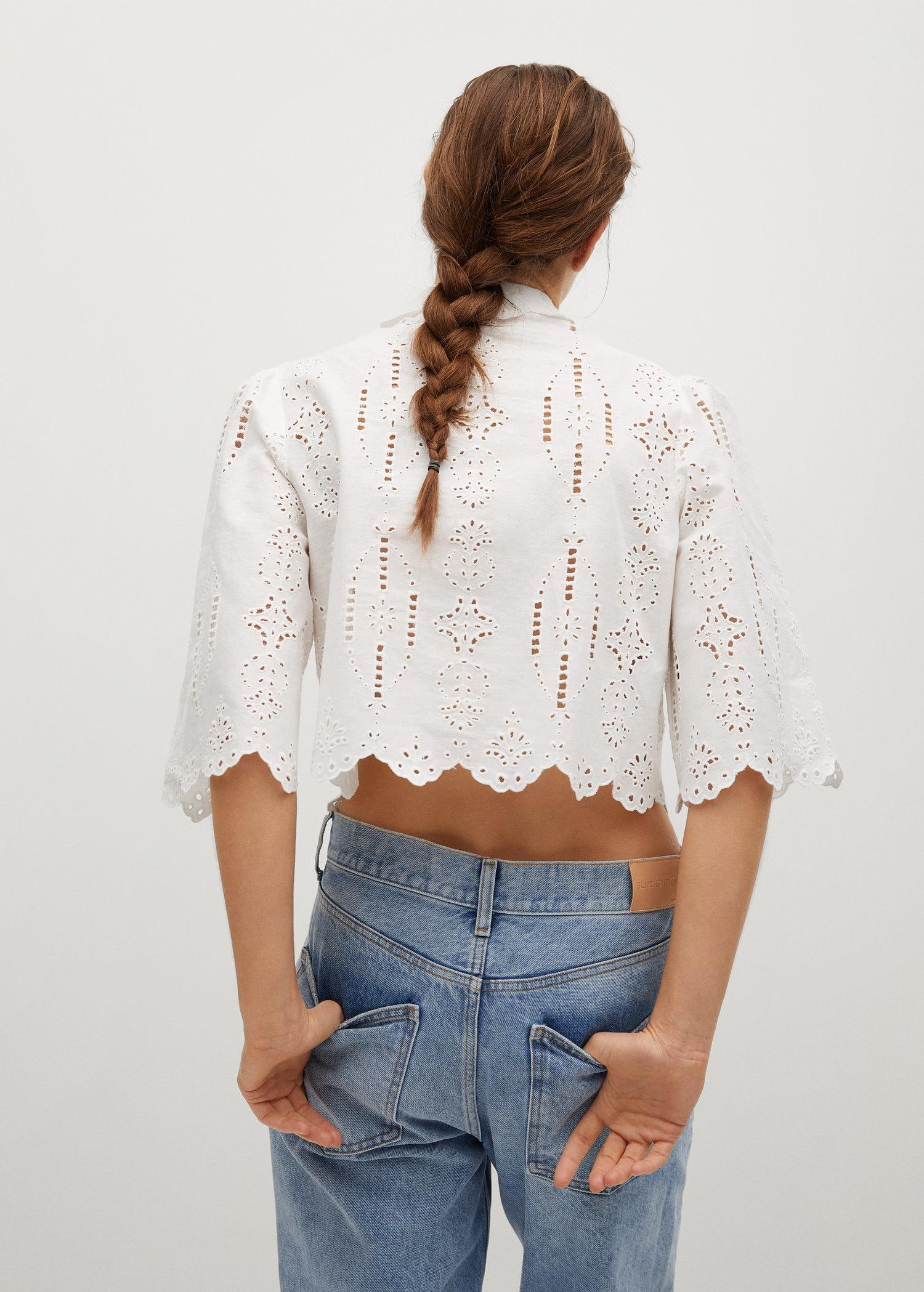 Swiss embroidery linen blouse 2