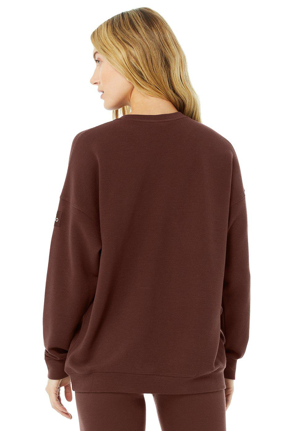 Micro Waffle Relaxation Pullover - Cherry Cola 2