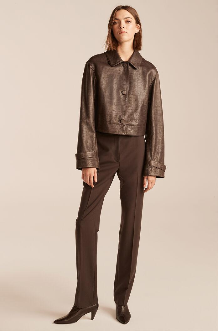 CROC EMBOSSED CROPPED LEATHER JACKET