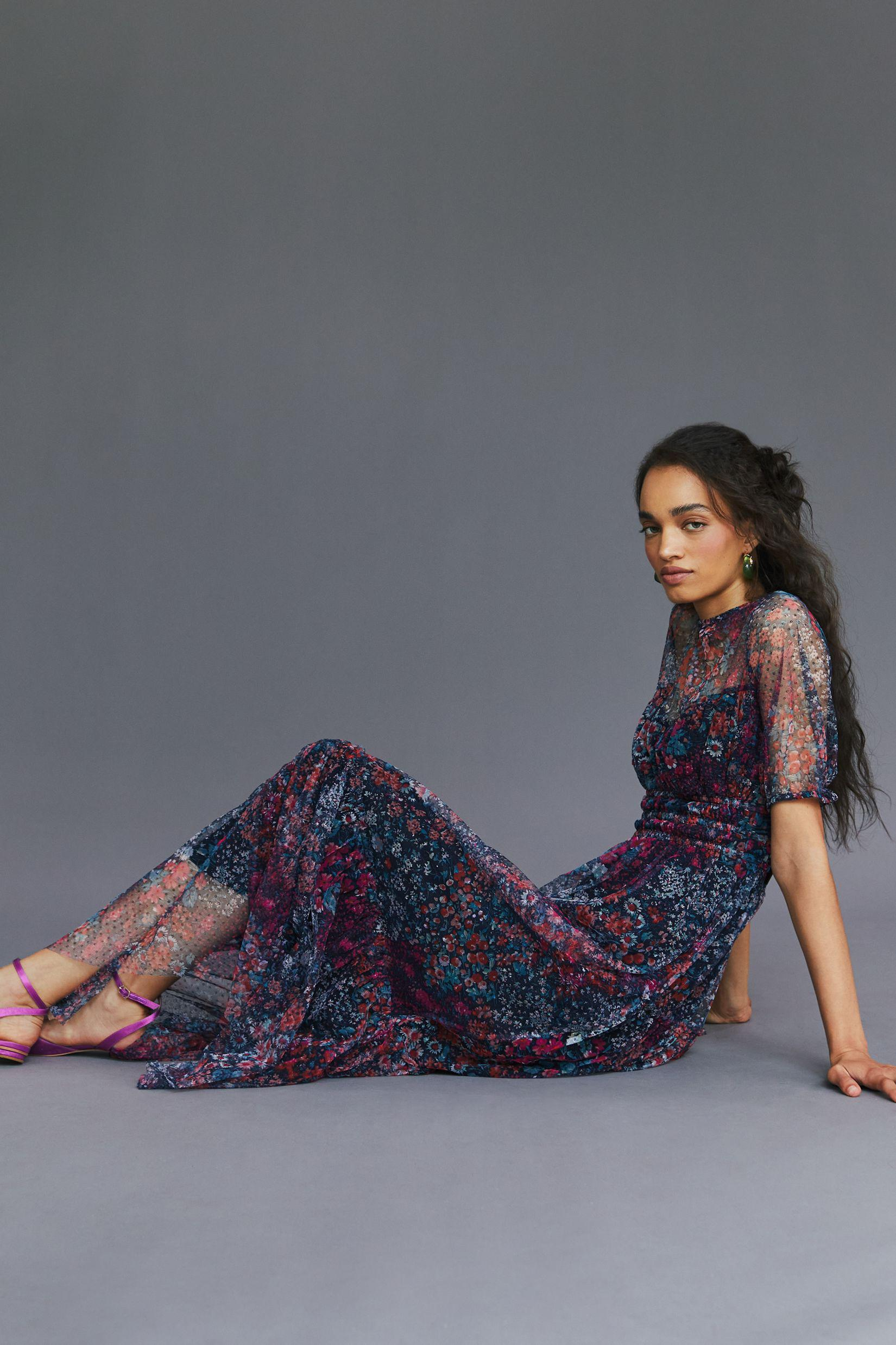 Maeve Ruched Floral Maxi Dress