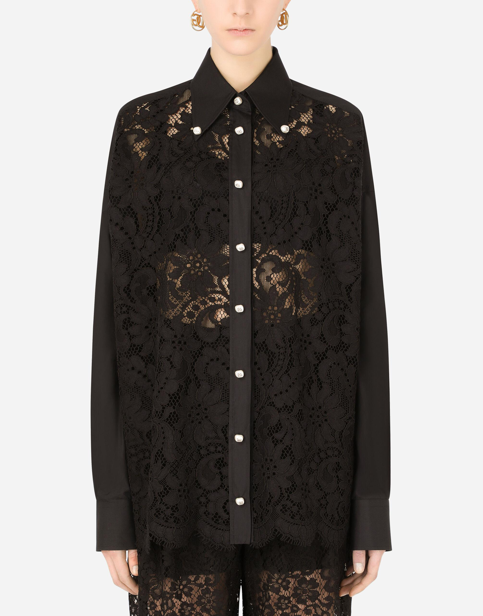 Poplin and lace shirt with DG buttons