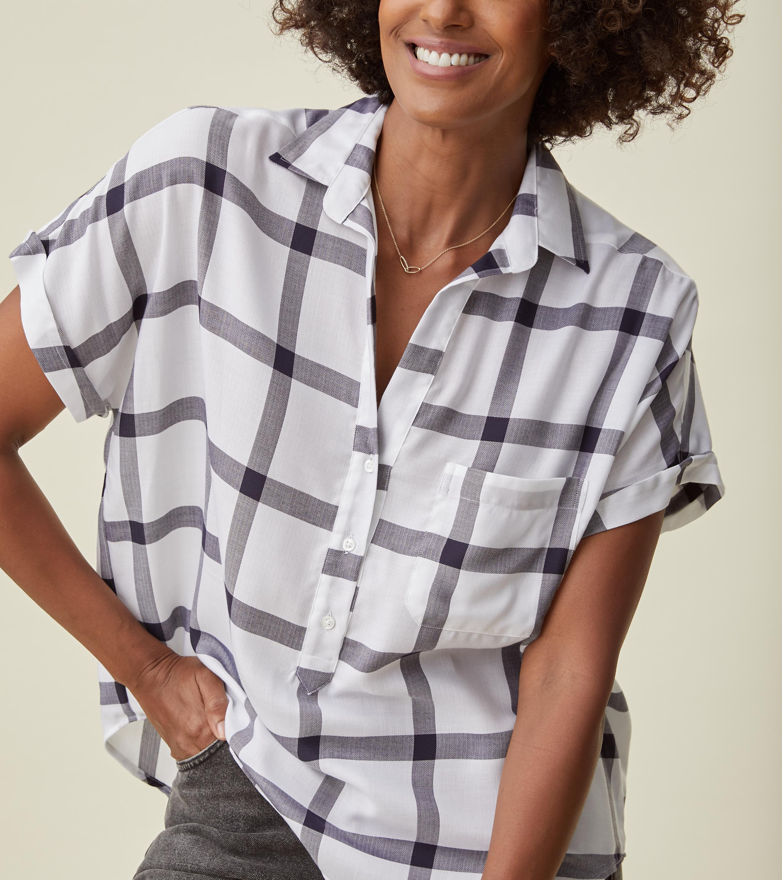 The Artist Short Sleeve Shirt White and Navy Check, Liquid Flannel