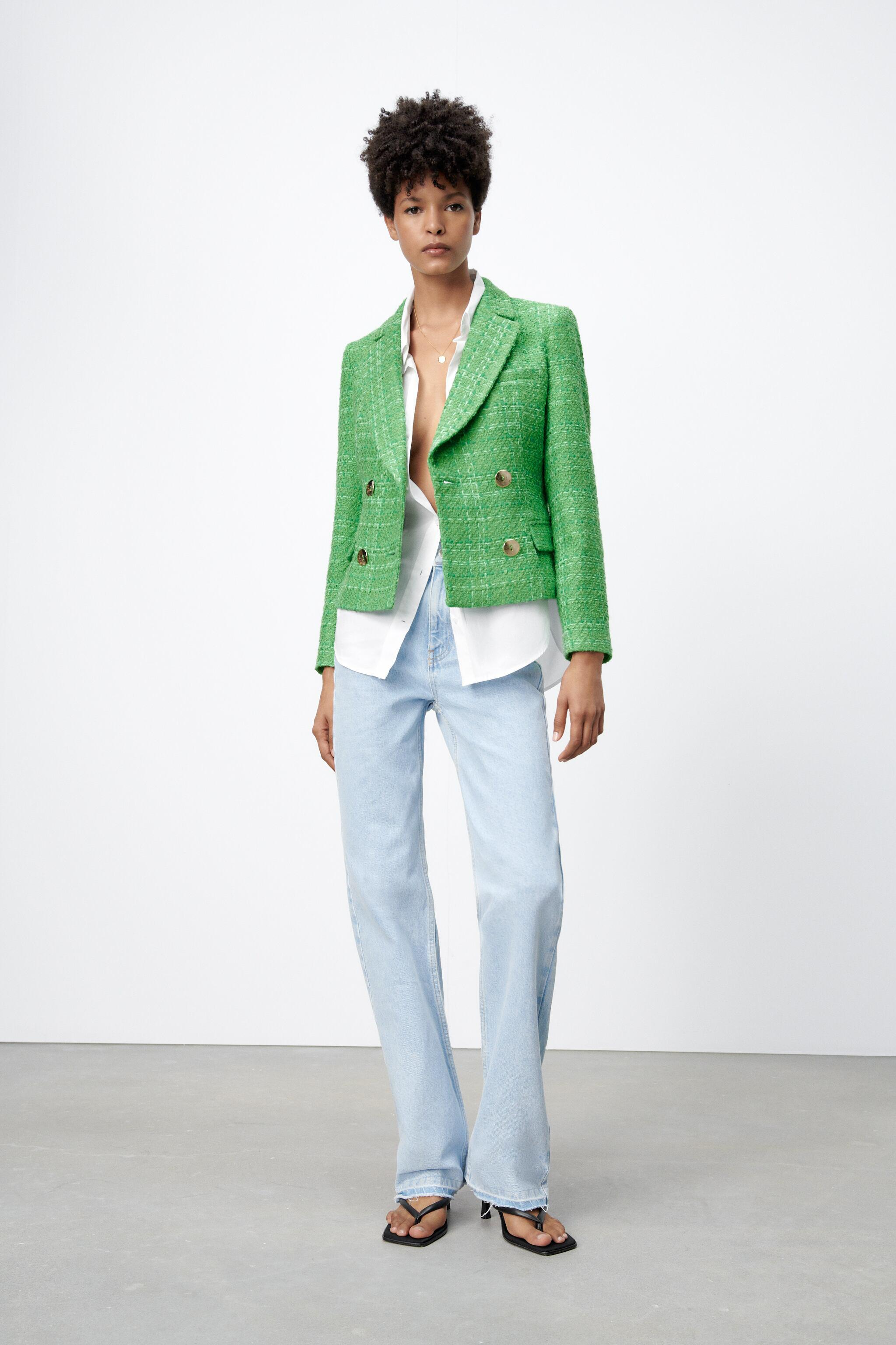 DOUBLE BREASTED TEXTURED WEAVE JACKET