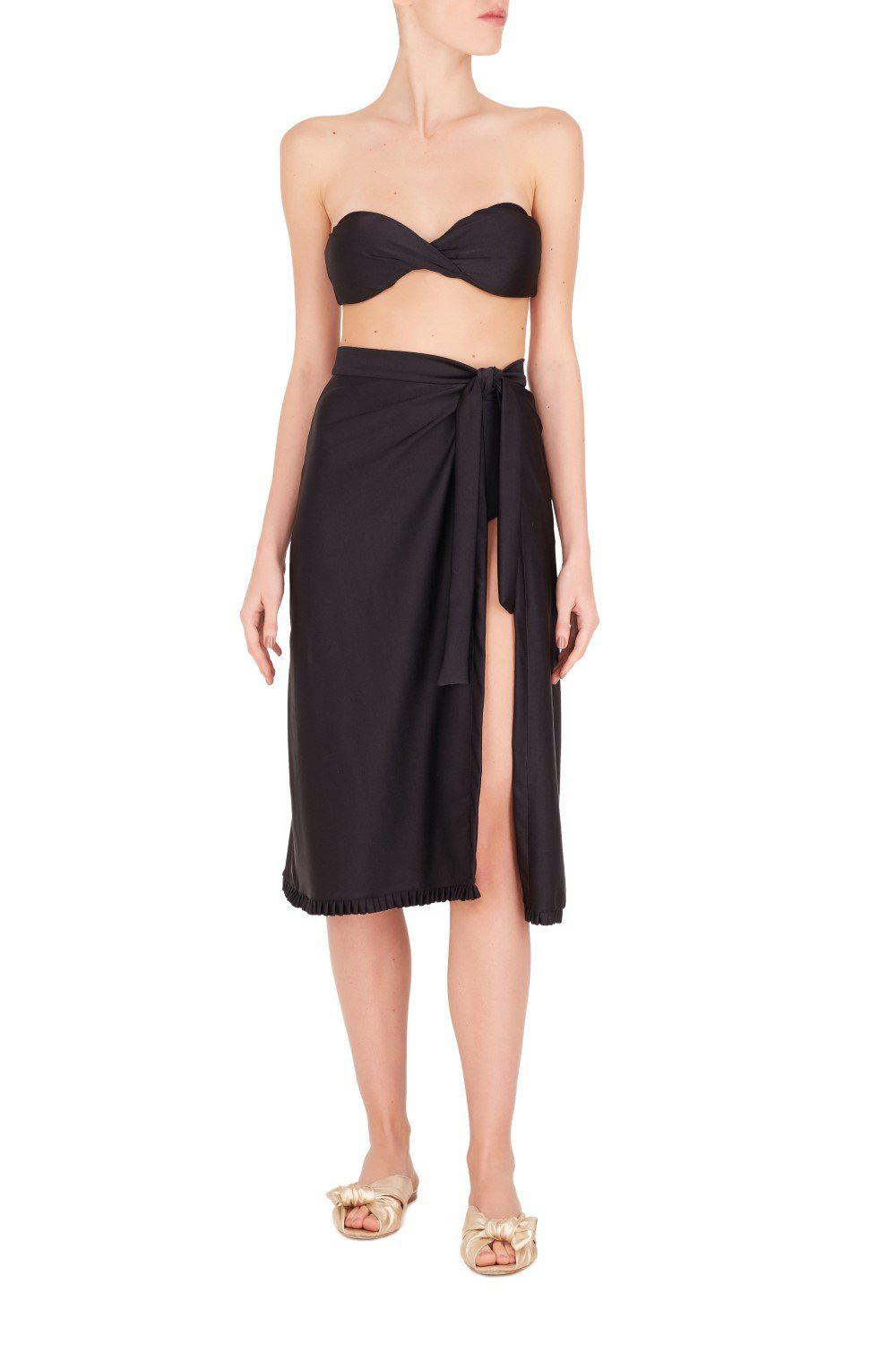 Fruits Exotiques Solid Pareo Skirt with Frills