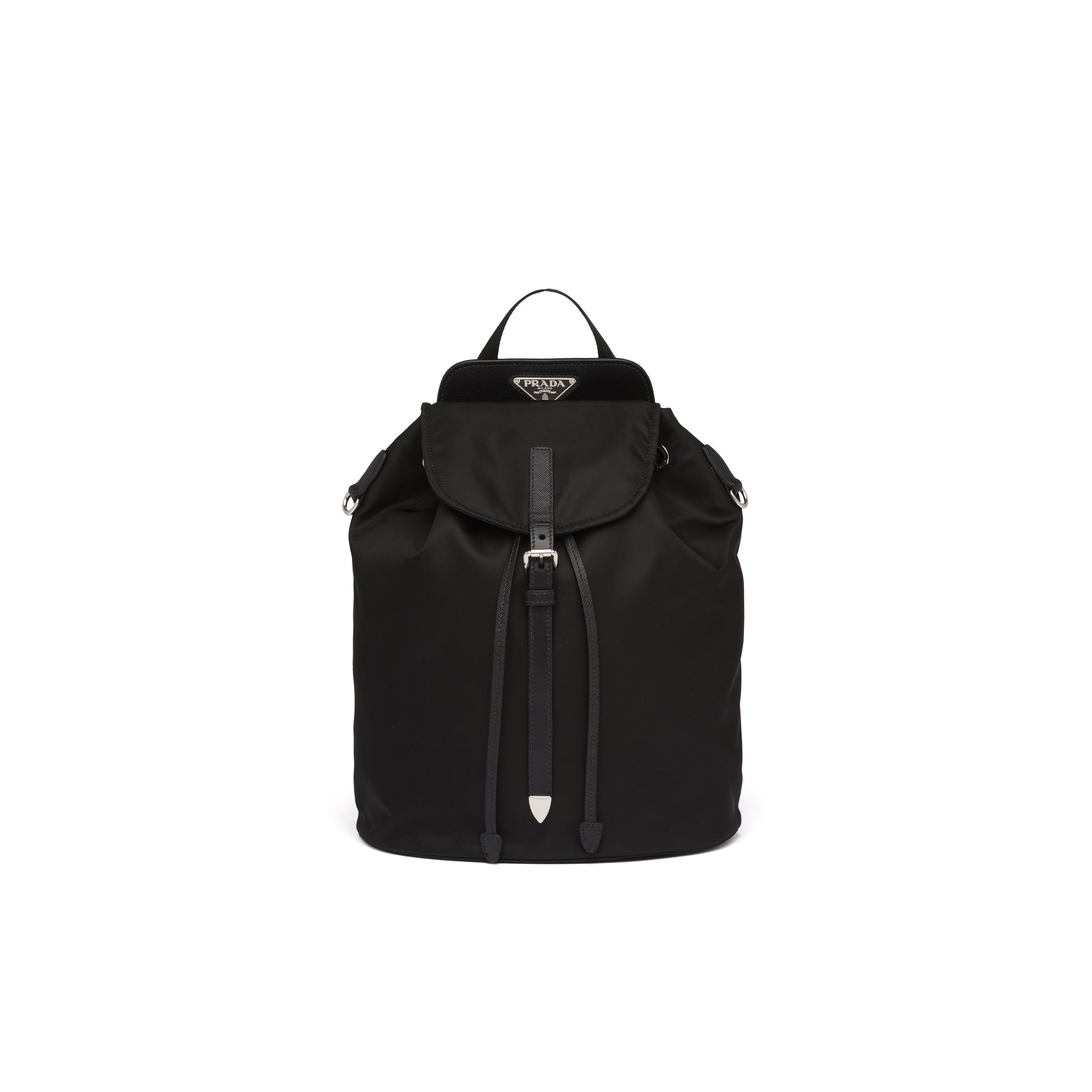 Nylon And Saffiano Leather Backpack Women Black