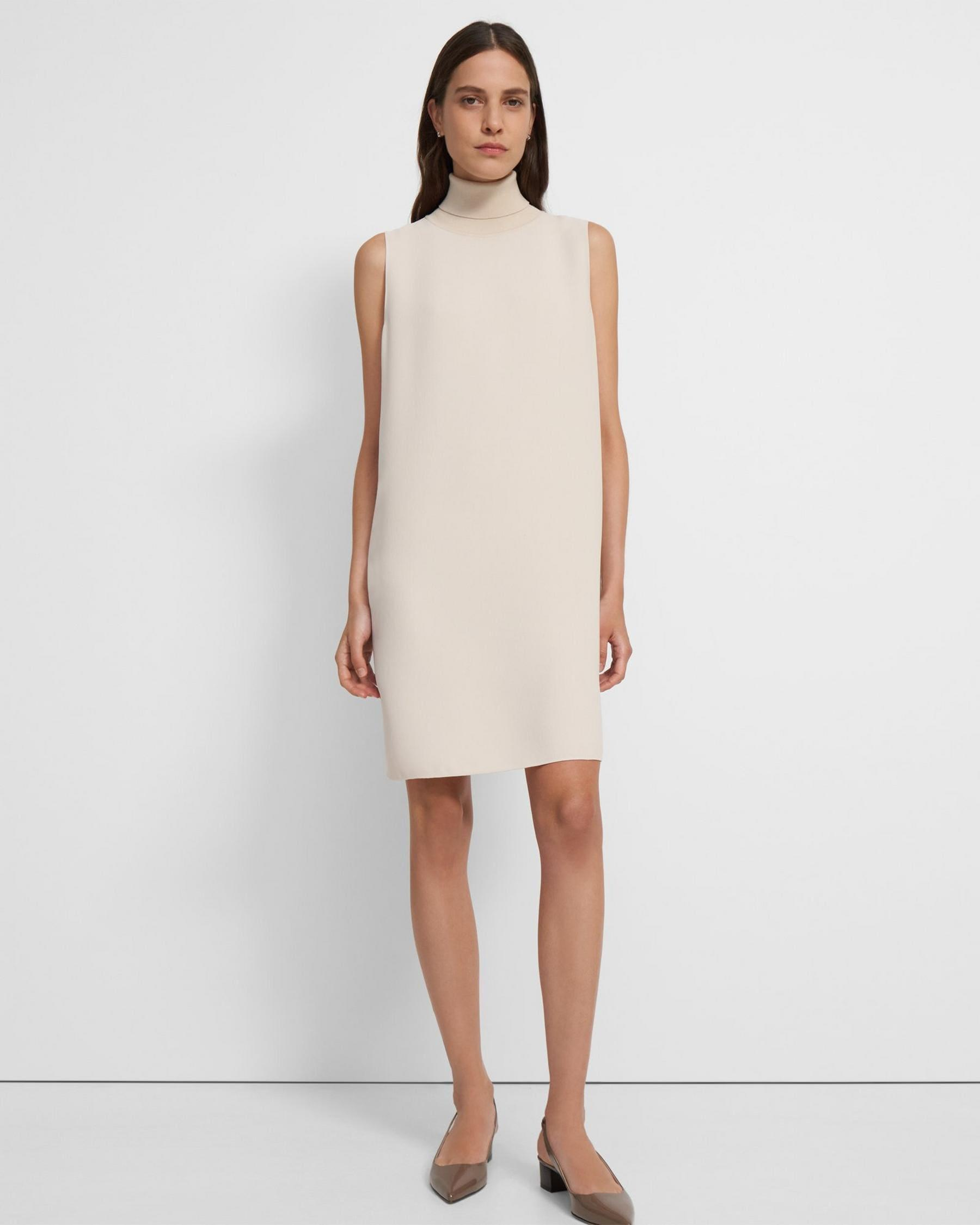 Roll Neck Dress in Crepe 1