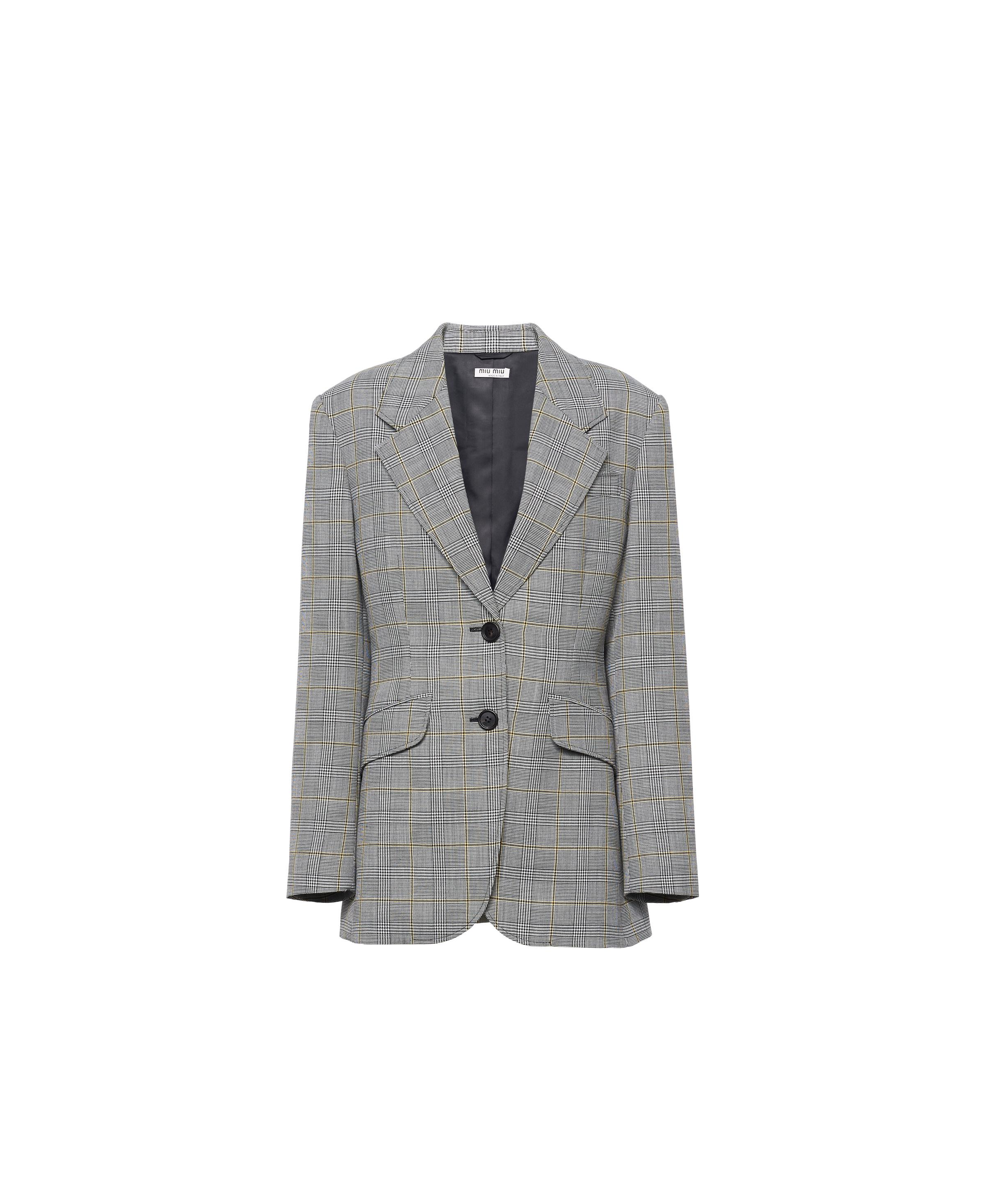 Prince Of Wales Checked Wool Jacket Women Black