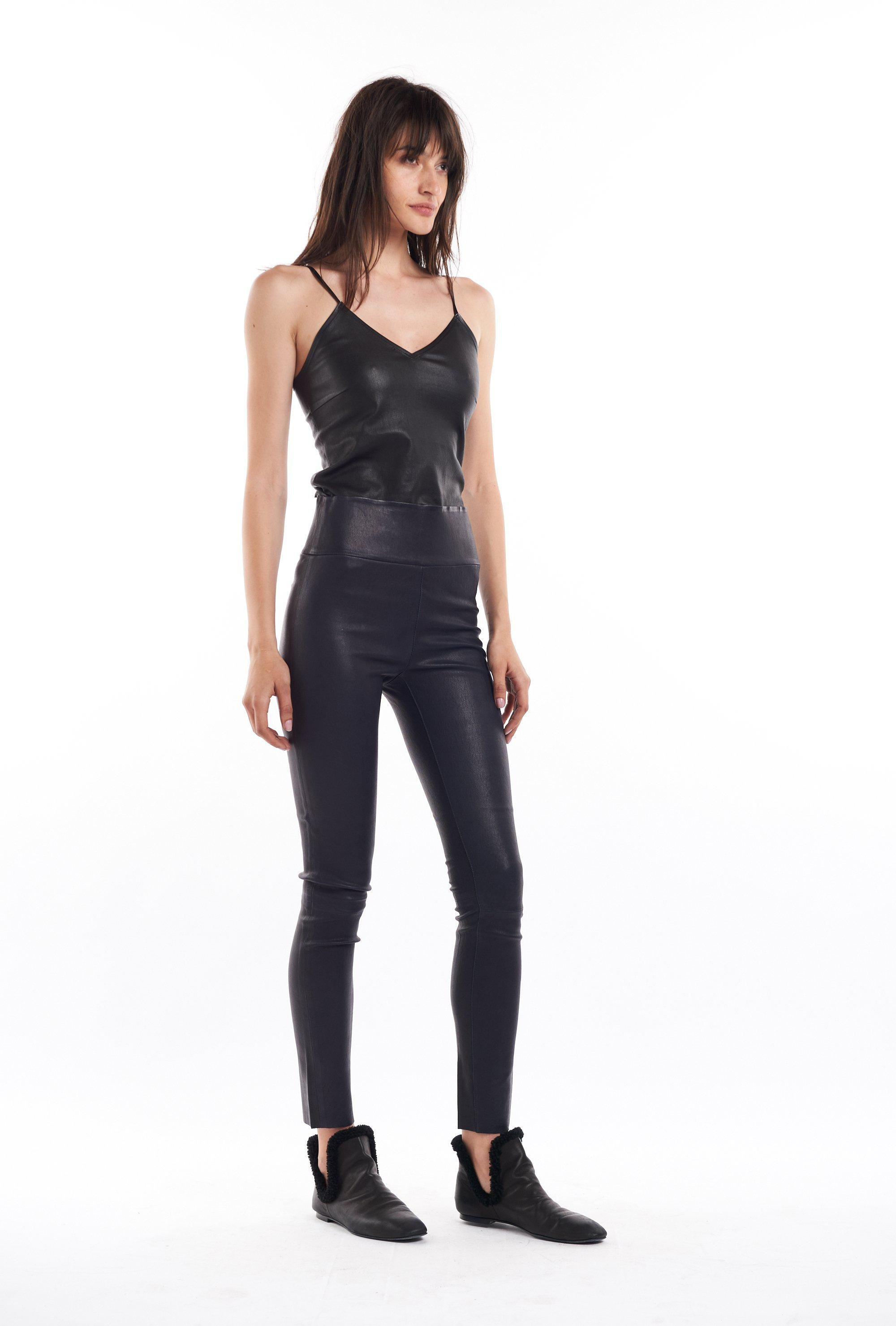 Navy Leather Ankle Legging