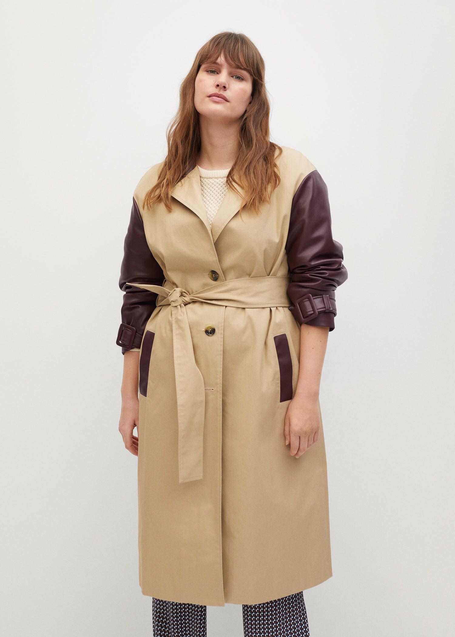 Combined leather-effect trench coat 4