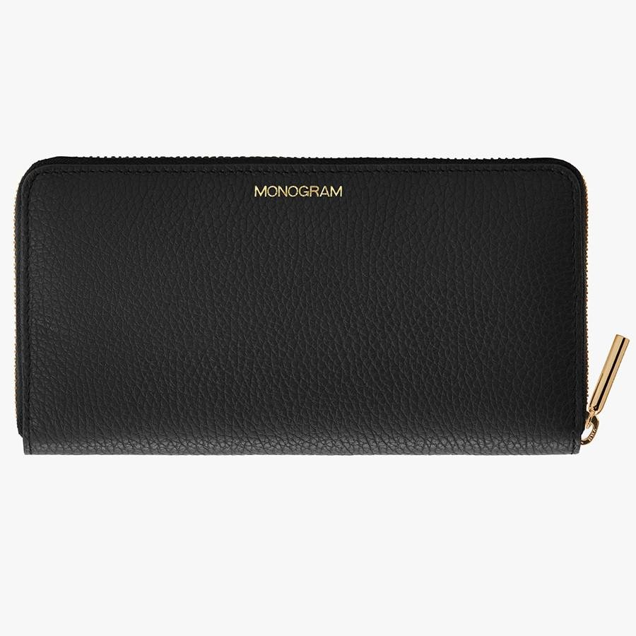 Women's Classic Zip Around Wallet in Black/Red   Pebbled Leather by Cuyana 4