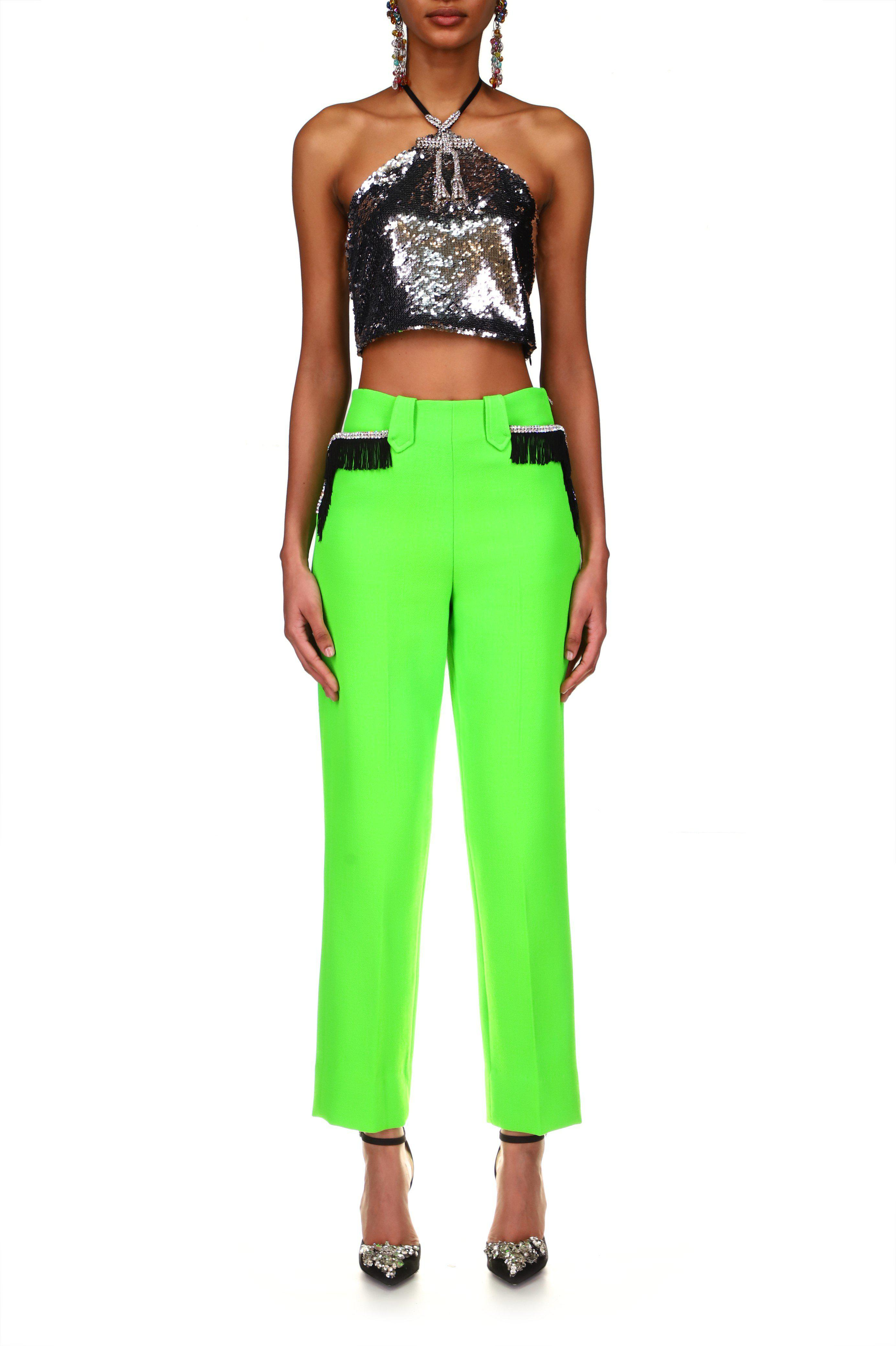 NEON GREEN WOOL PANT WITH RHINESTONE AND FRINGE DETAIL
