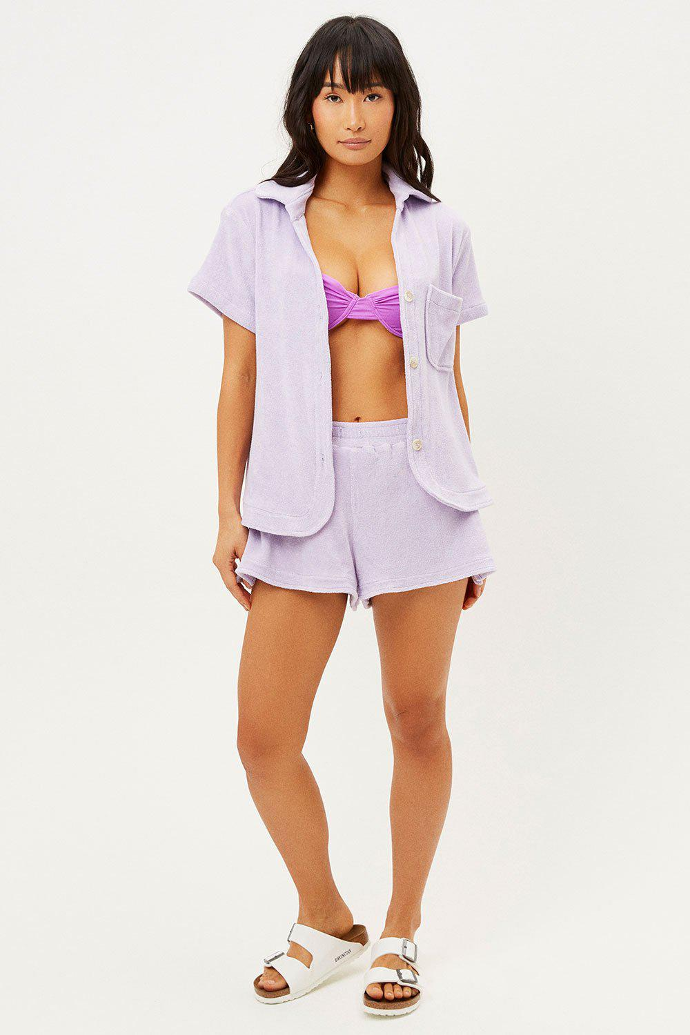 Coco Terry Button Up Shirt - Lilac 2