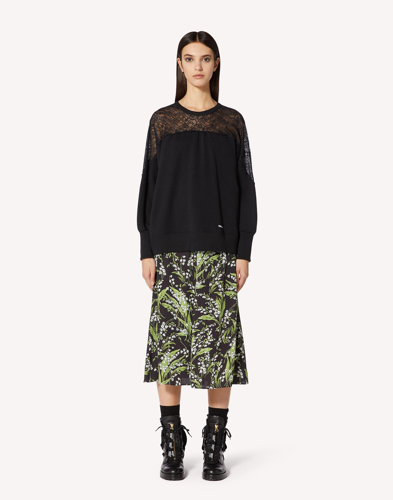 MAY LILY PRINTED MAROCAINE A-LINE SKIRT