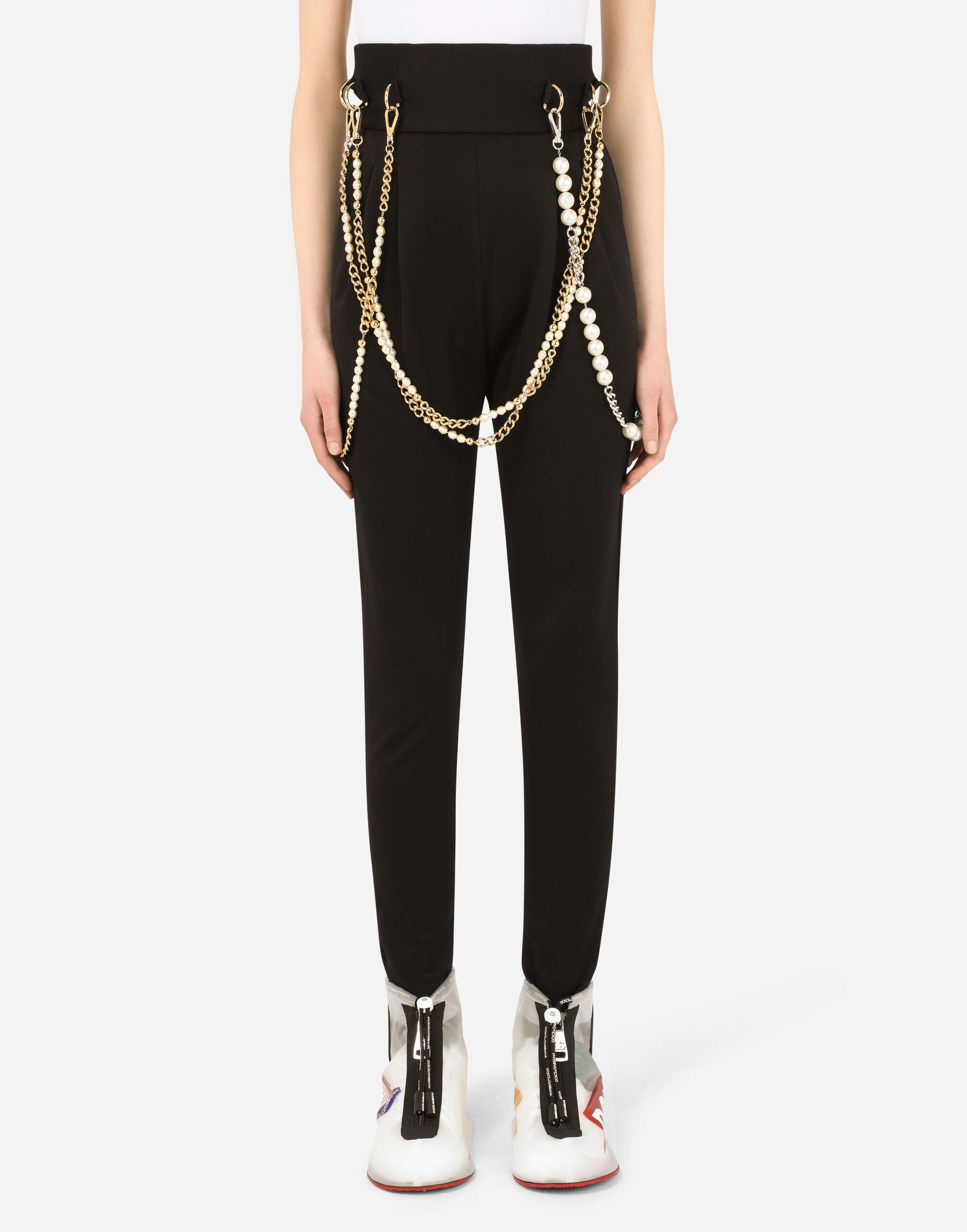 High-waisted cavalry pants with chains