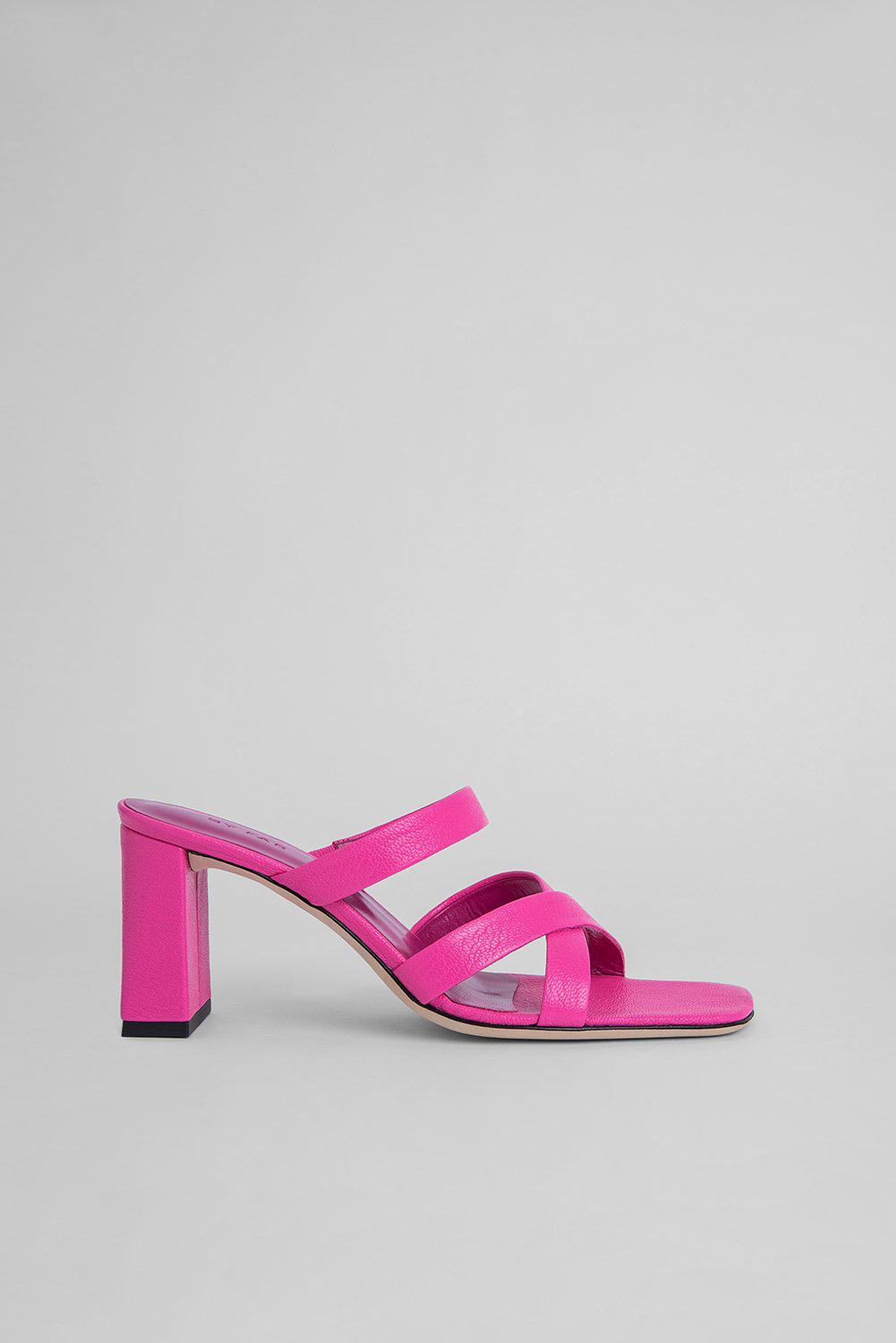 Lenny Hot Pink Grained Leather
