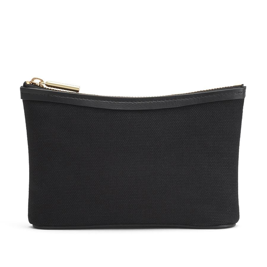 Women's Mini Canvas Zipper Pouch in Black | Canvas & Smooth Leather by Cuyana