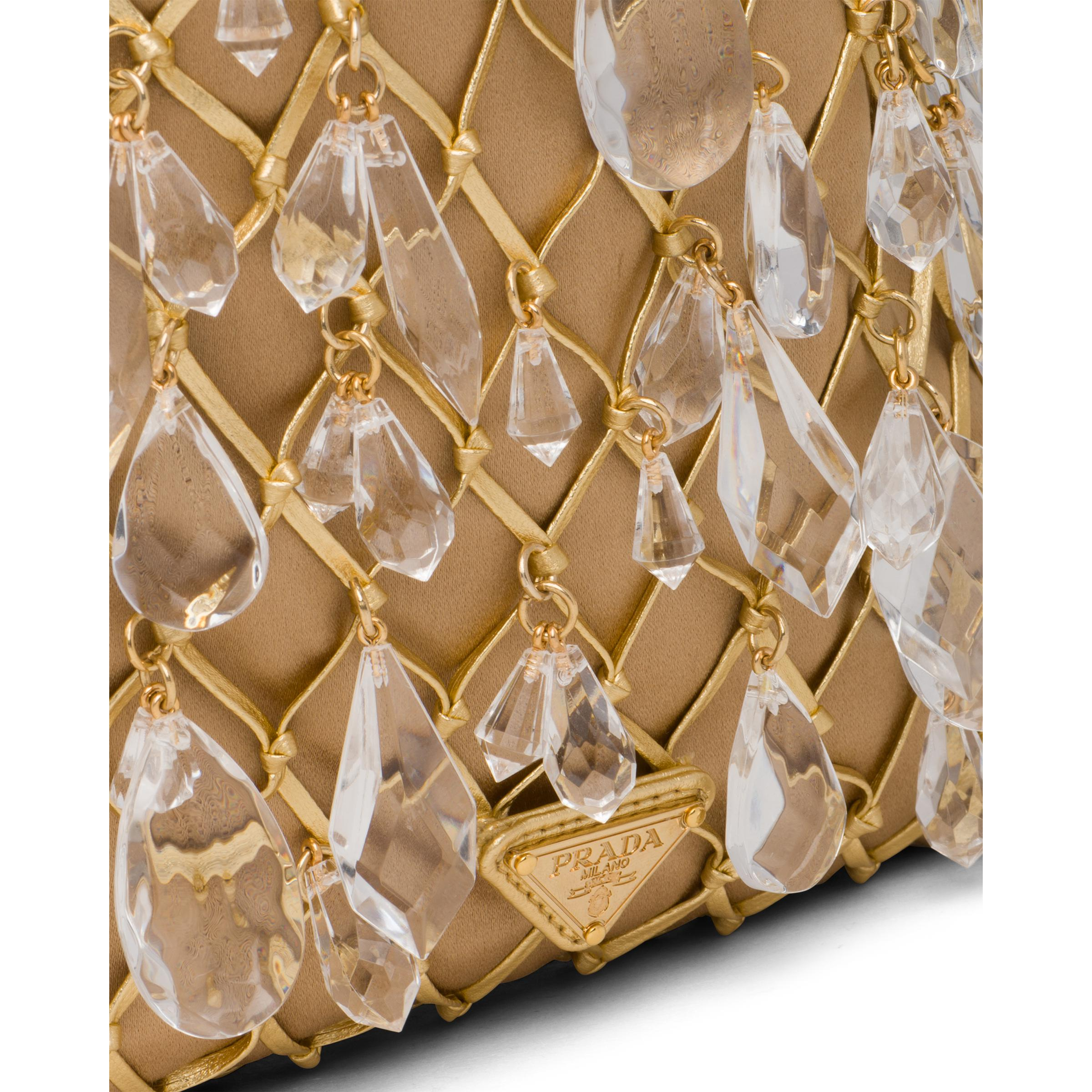 Leather Mesh And Satin Clutch Women Gold 5