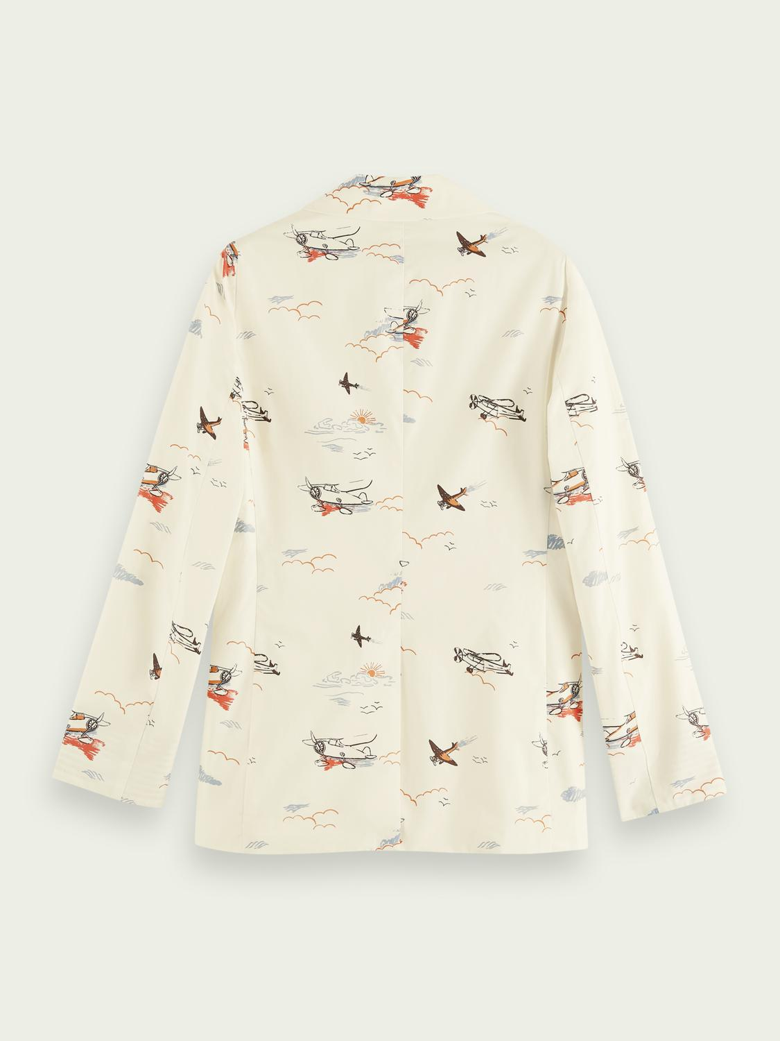 Printed double-breasted organic cotton blazer 4