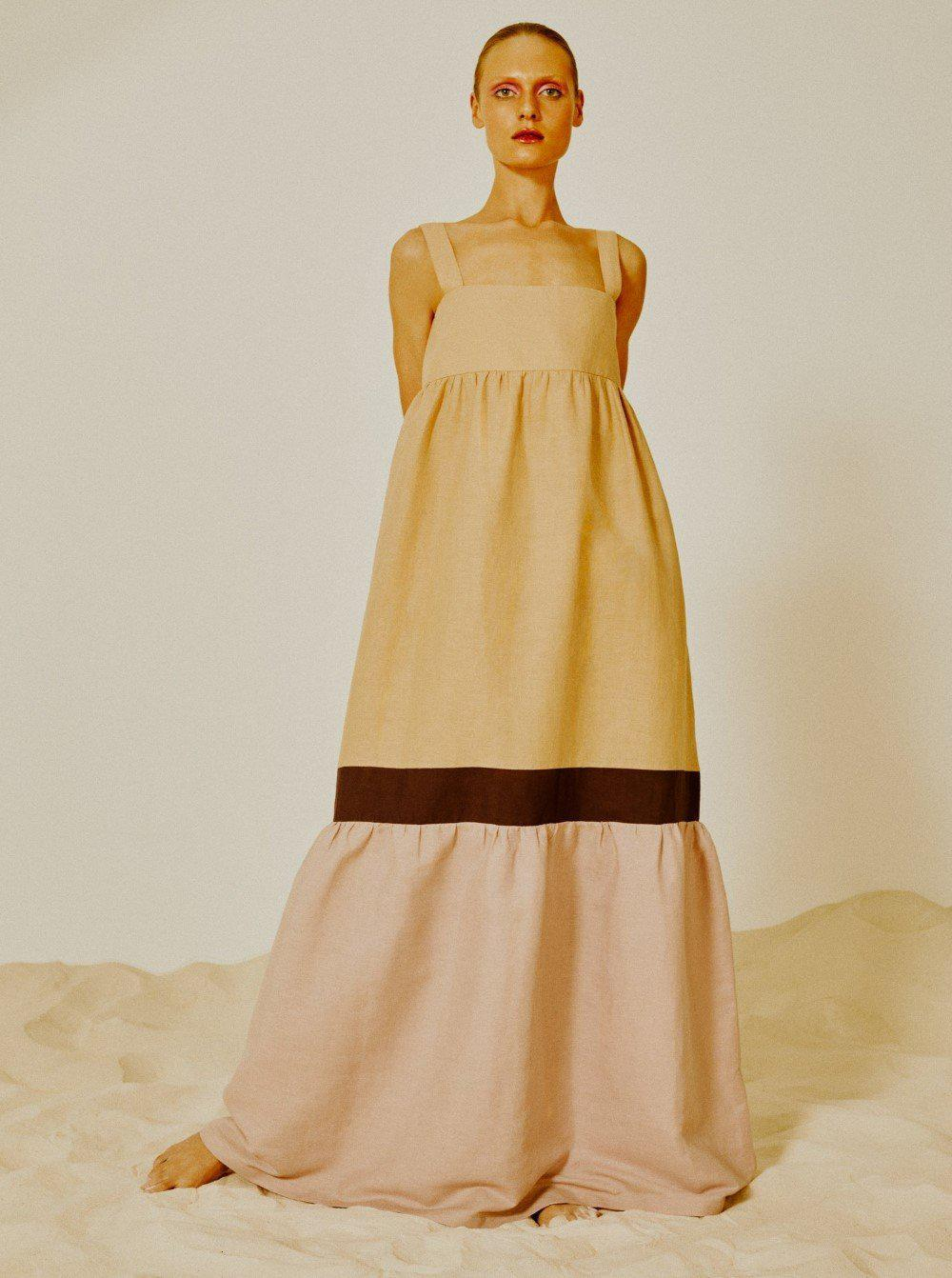 Fig Tricolor Long Dress with Straps 1