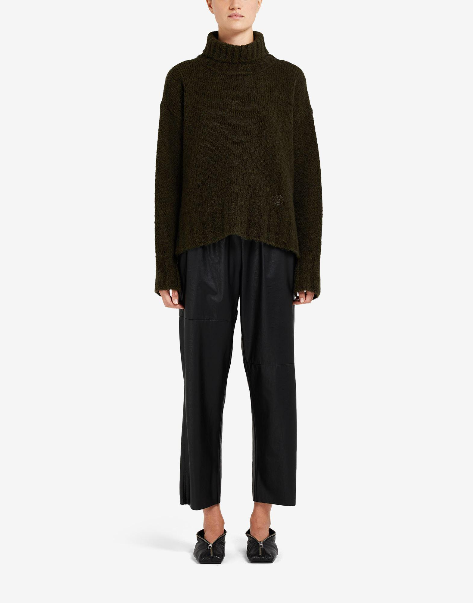 Hairy knit roll-neck sweater