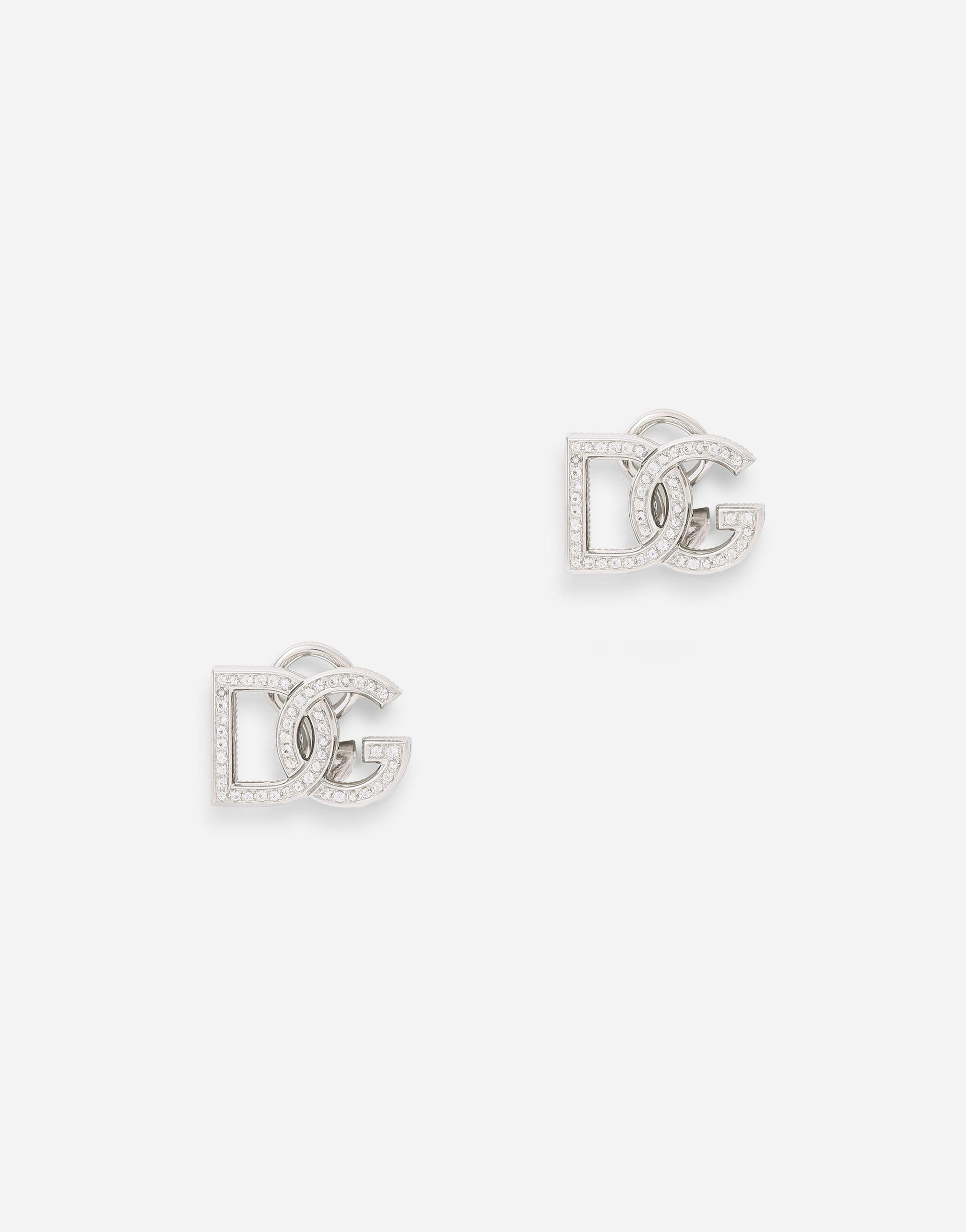 Logo clip-on earrings in white 18kt gold with colourless sapphires