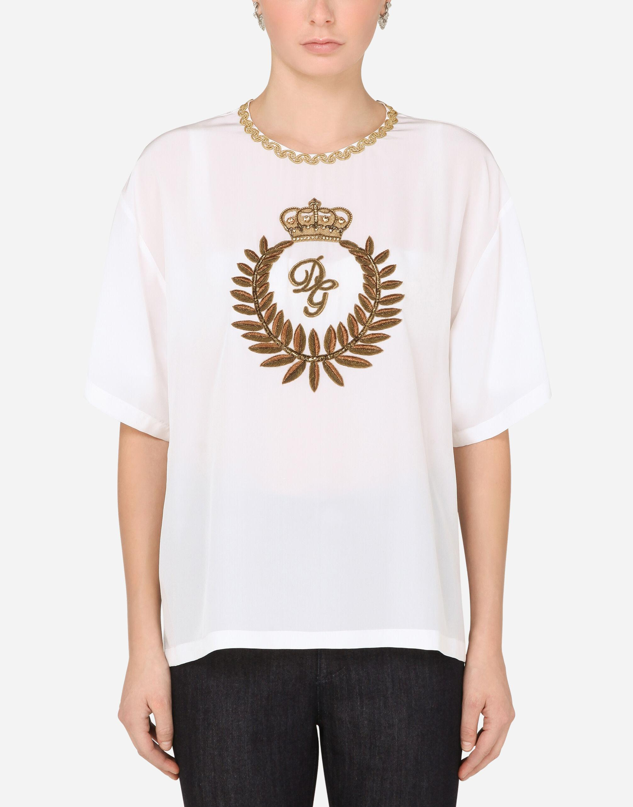 Crepe de chine blouse with laurel embroidery