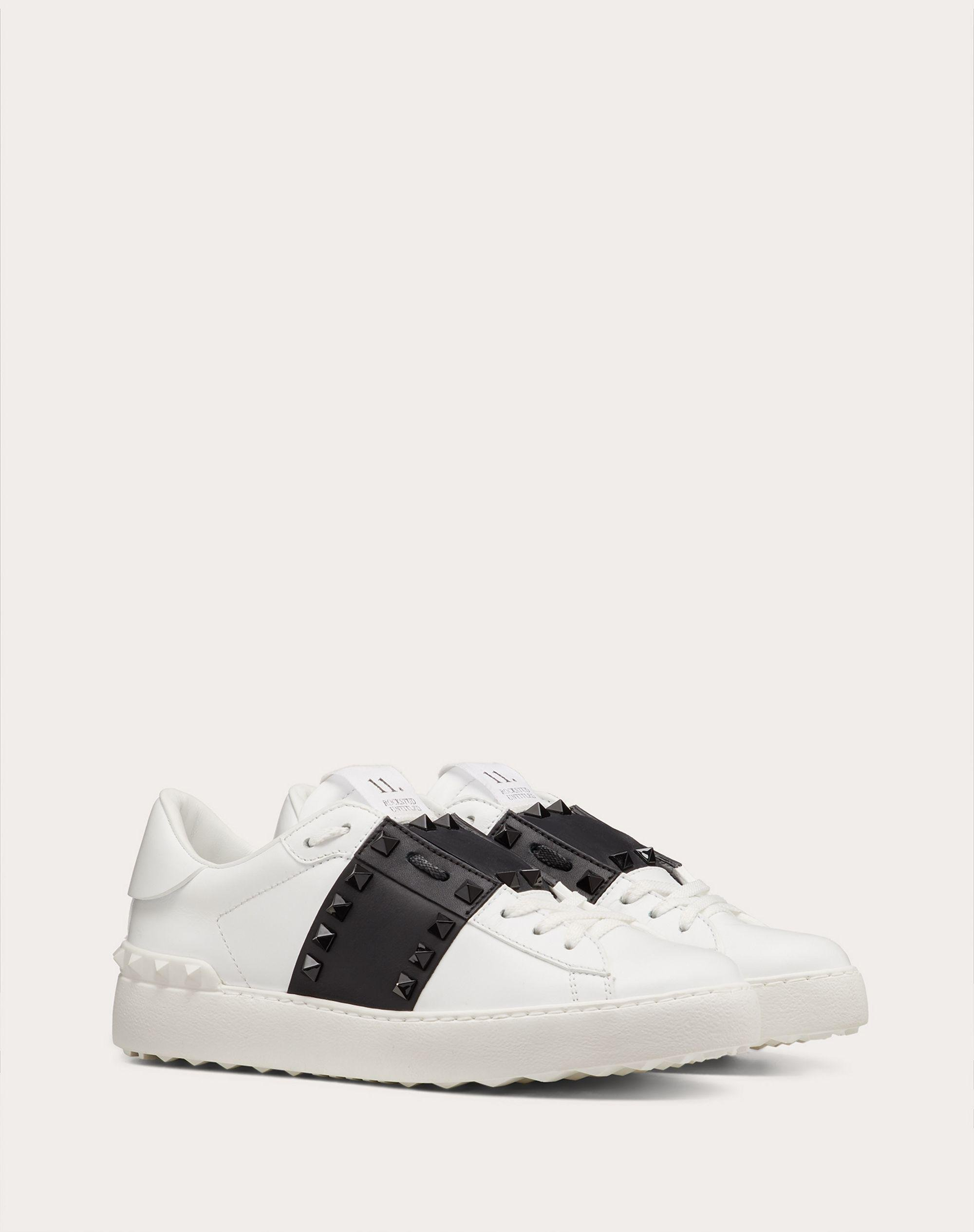 Rockstud Untitled Sneaker in Calfskin Leather with Tonal Studs 1