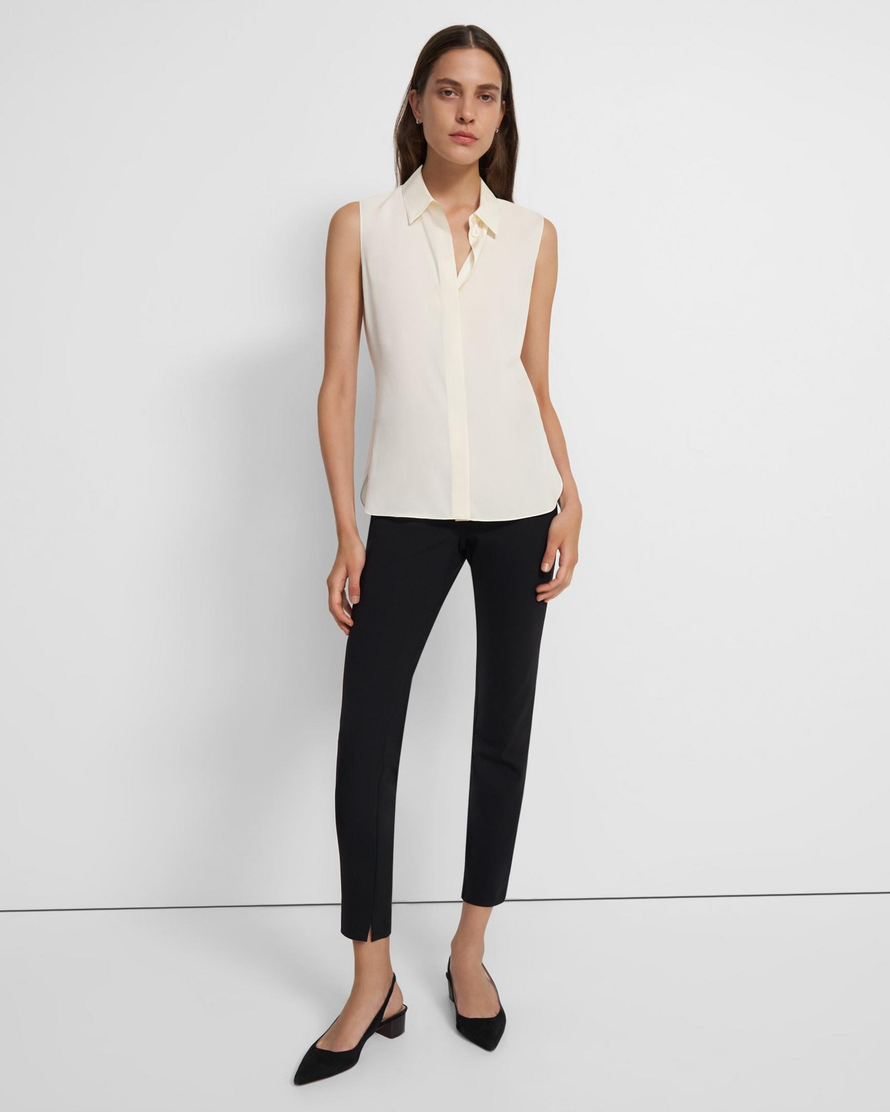 Fitted Sleeveless Shirt in Stretch Silk 1