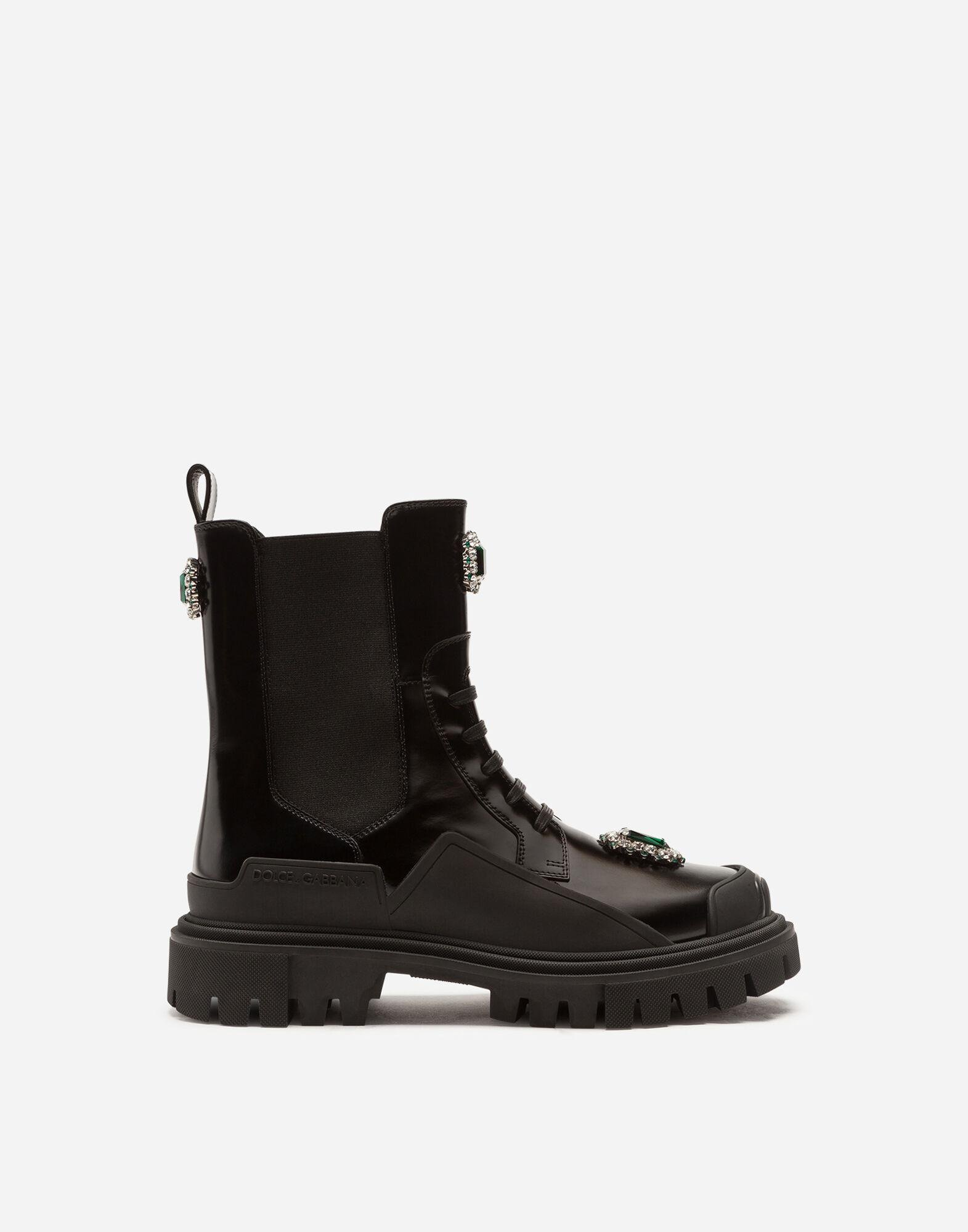 Polished calfskin combat boots with bejeweled embroidery