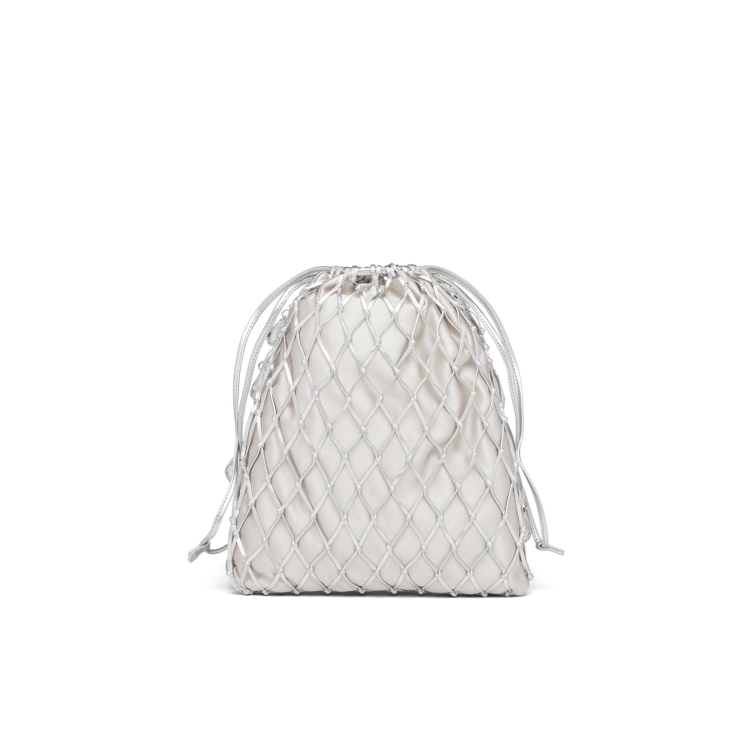 Leather Mesh And Satin Clutch Women Silver 3