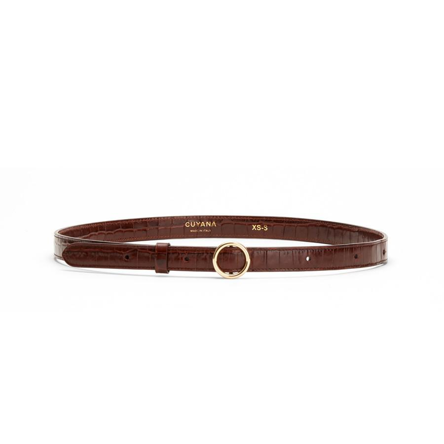 Women's Circle Buckle Belt in Chocolate | Size:
