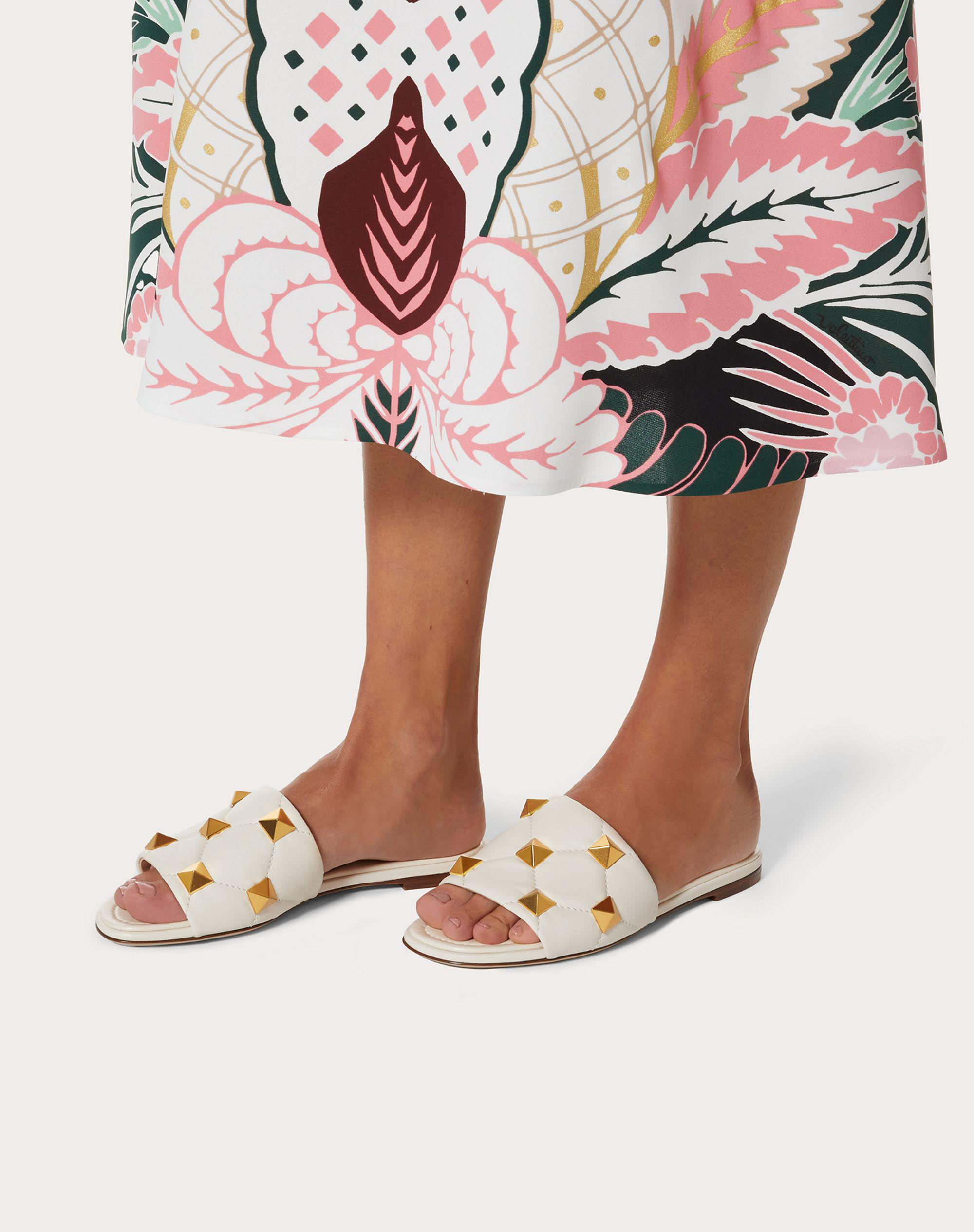ROMAN STUD FLAT SLIDE SANDAL IN QUILTED NAPPA 5