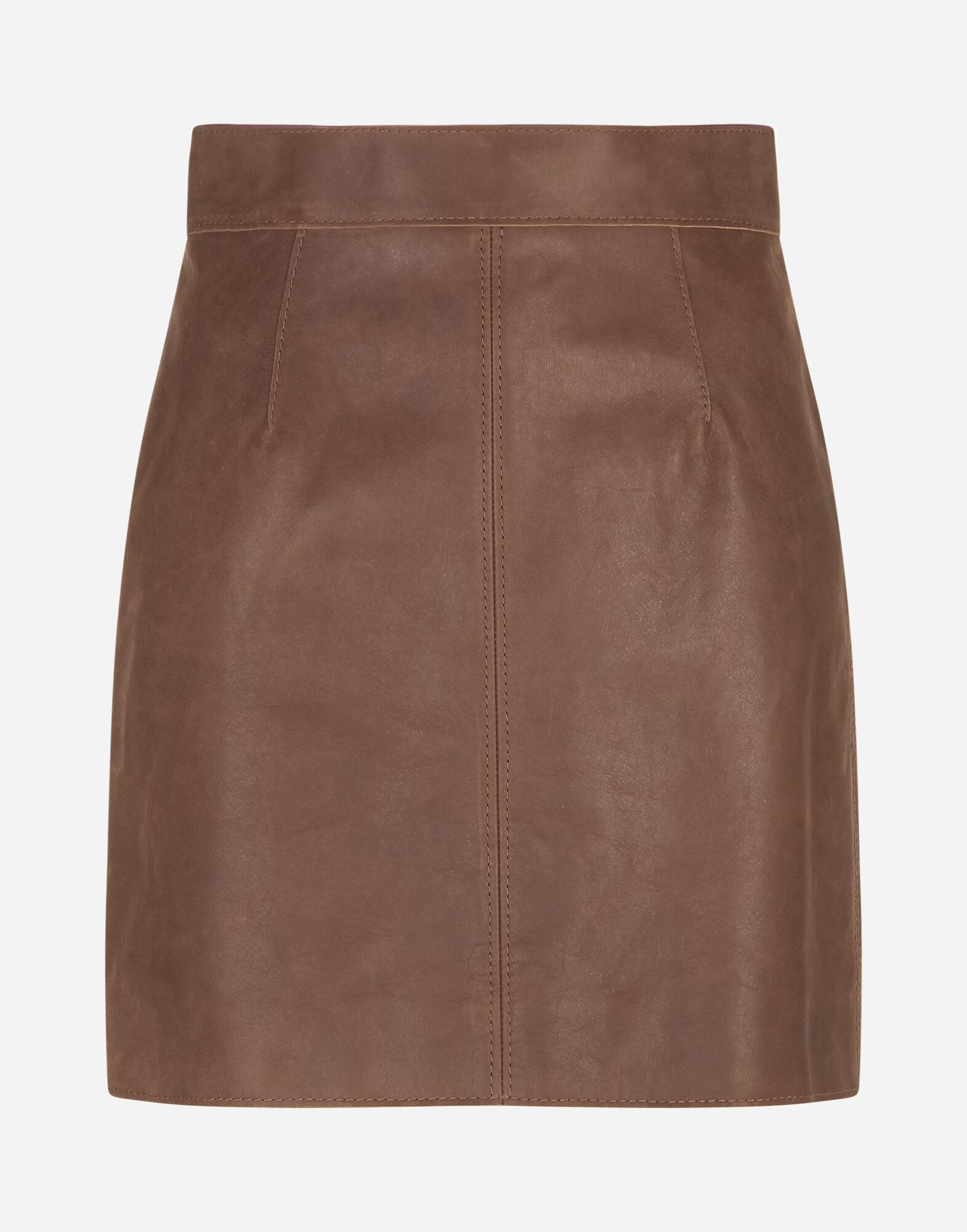 A-line miniskirt in hammered nappa leather 4