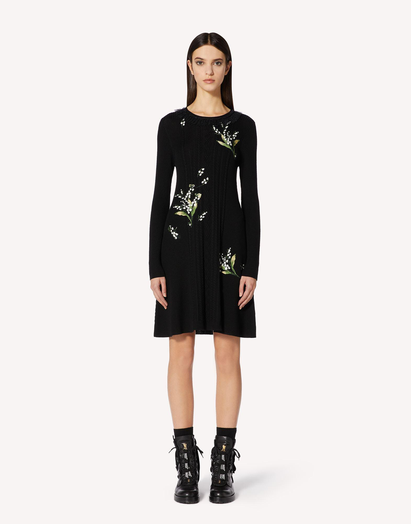 MAY LILY EMBROIDERED WOOL KNIT DRESS