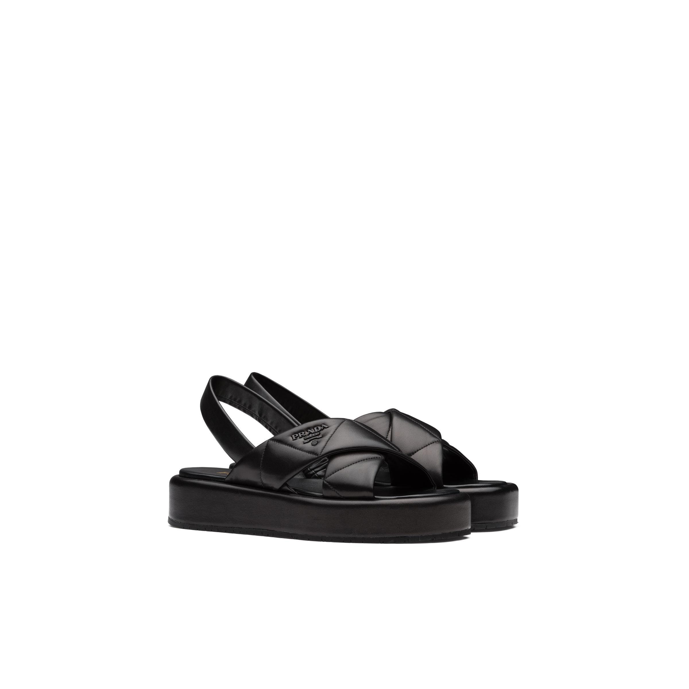 Quilted Nappa Leather Flatform Sandals Women Black