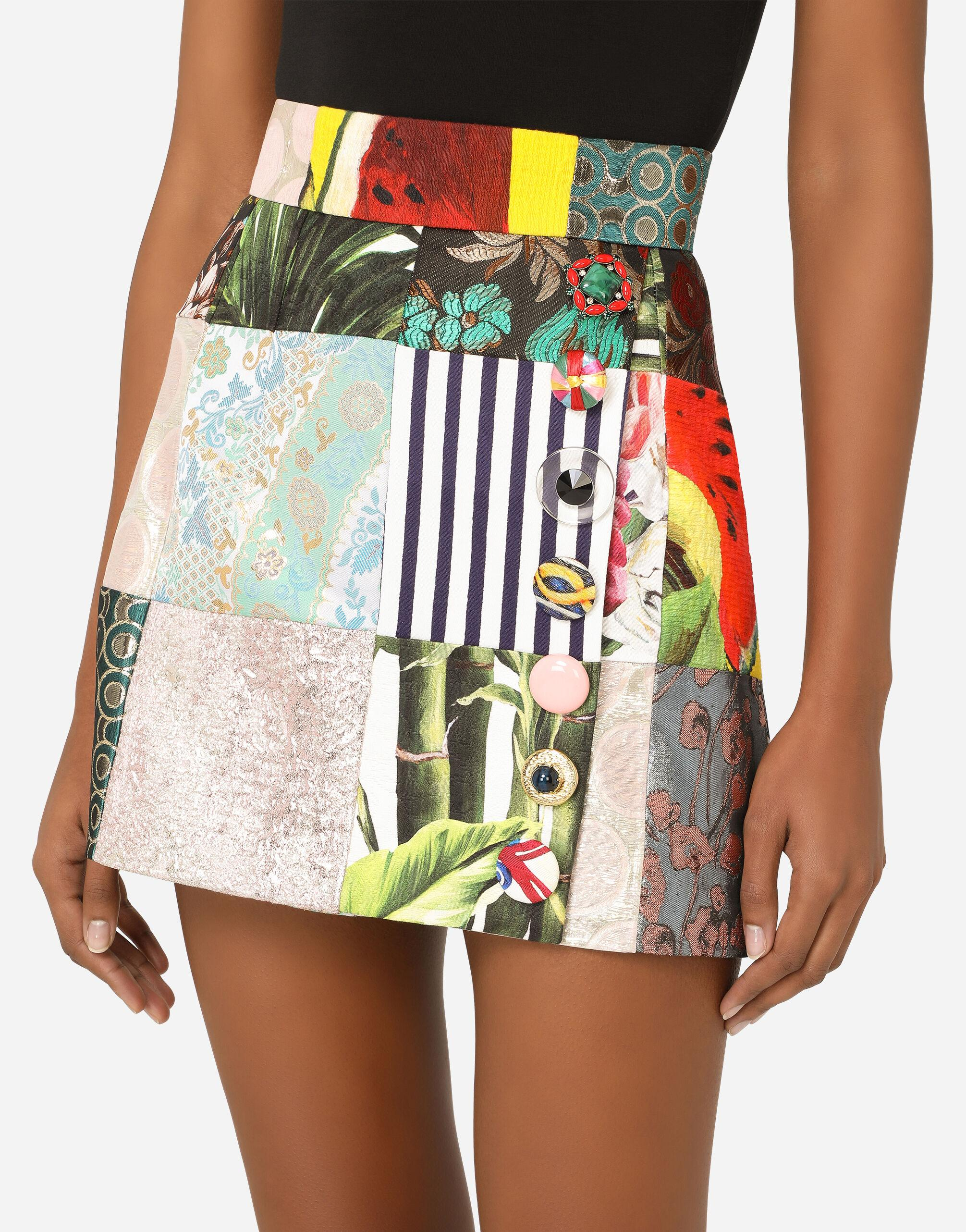 Patchwork jacquard miniskirt with bejeweled buttons 2