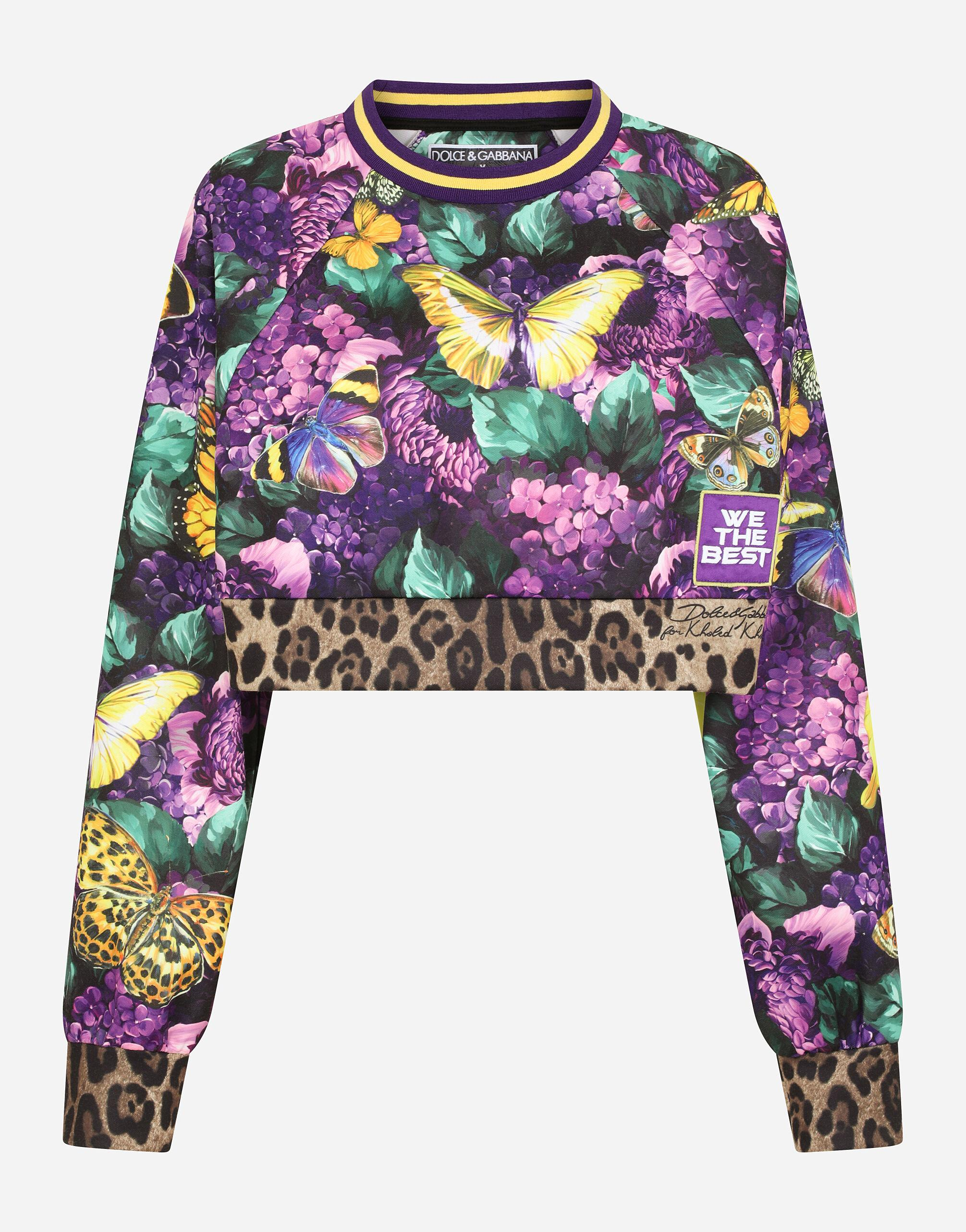 Round-neck jersey sweatshirt with butterfly print 9