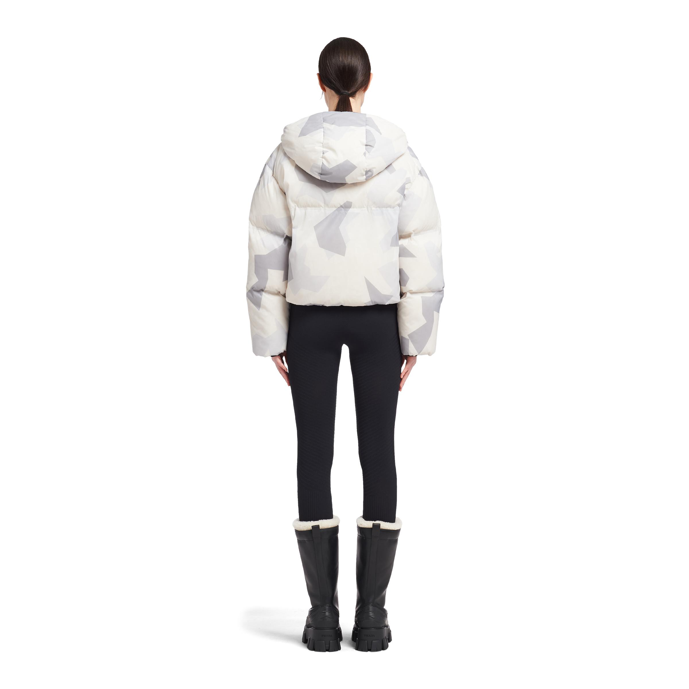 Cropped Camouflage Print Nylon Puffer Jacket Women Marble Gray 3