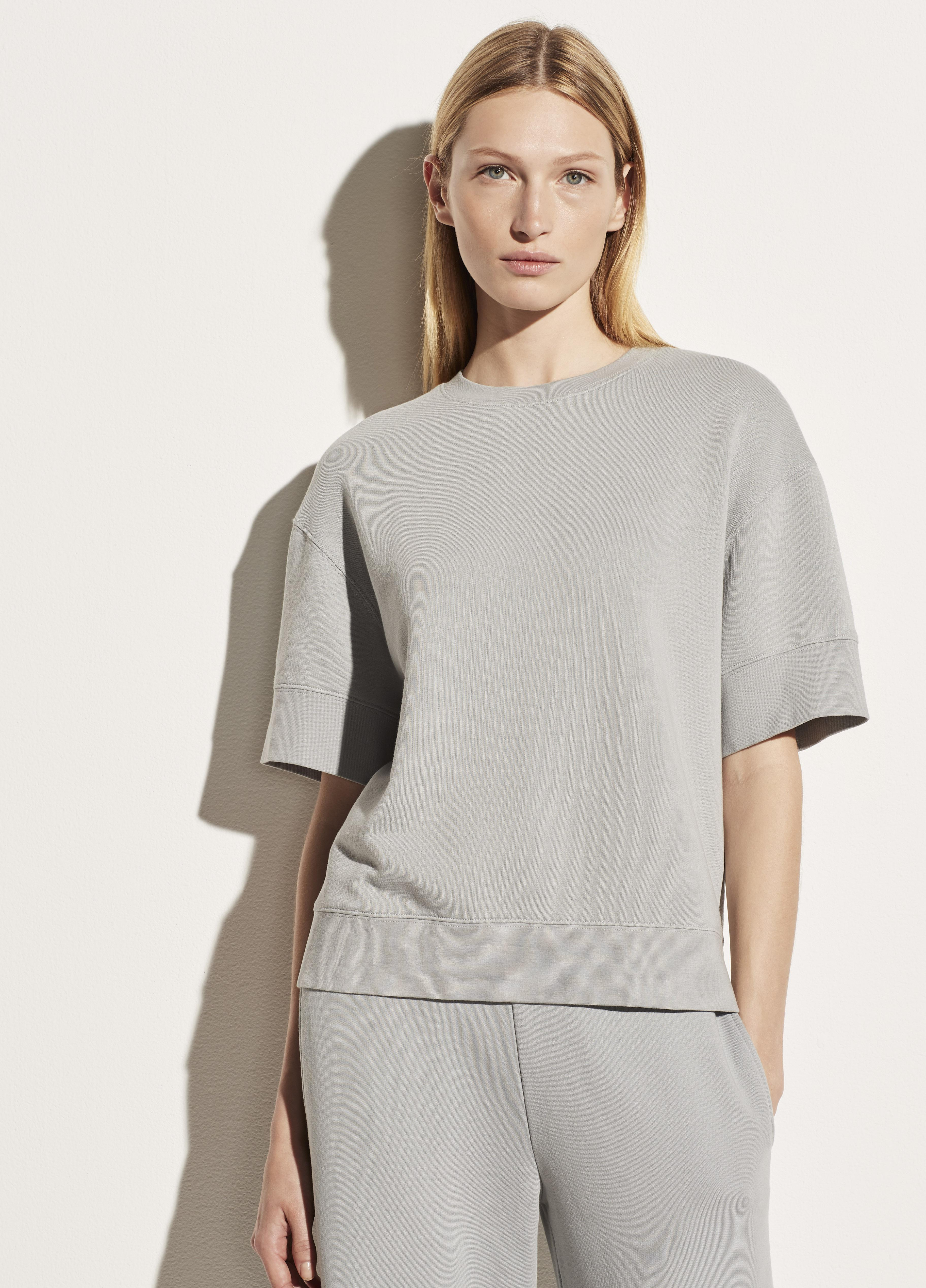 Garment Washed French Terry Elbow Sleeve Pullover