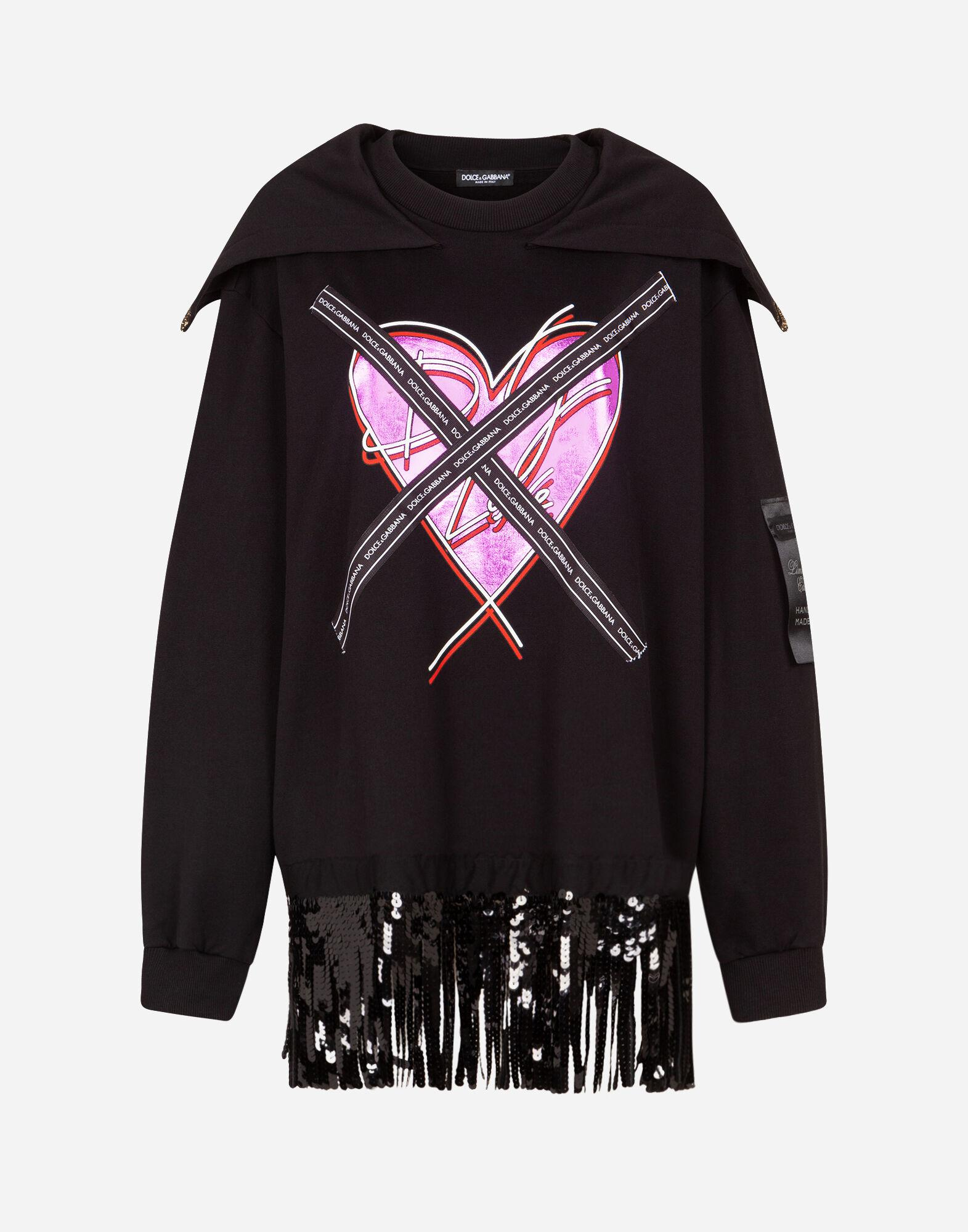 Jersey sweatshirt with heart print and ribbon details 4
