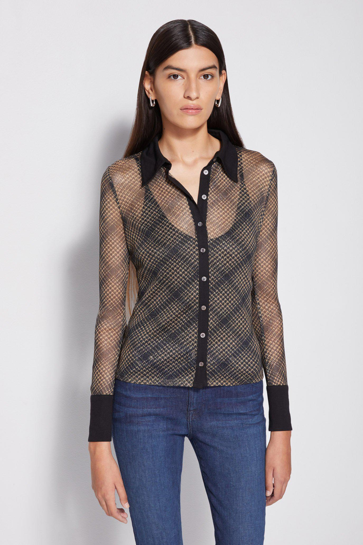 Tia Shimmer Tulle Button Down