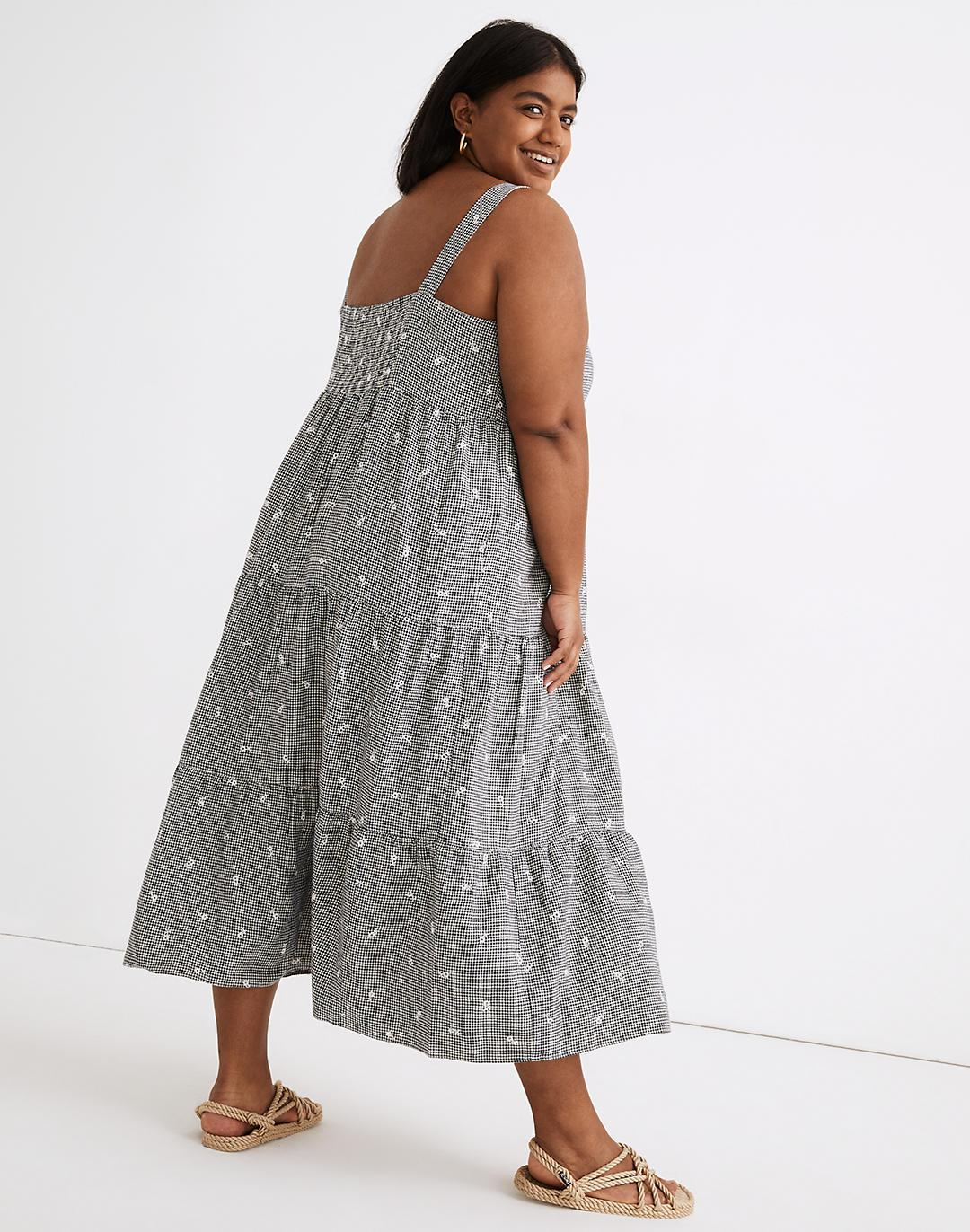 Plus Embroidered Tiered Midi Dress in Gingham Check 1