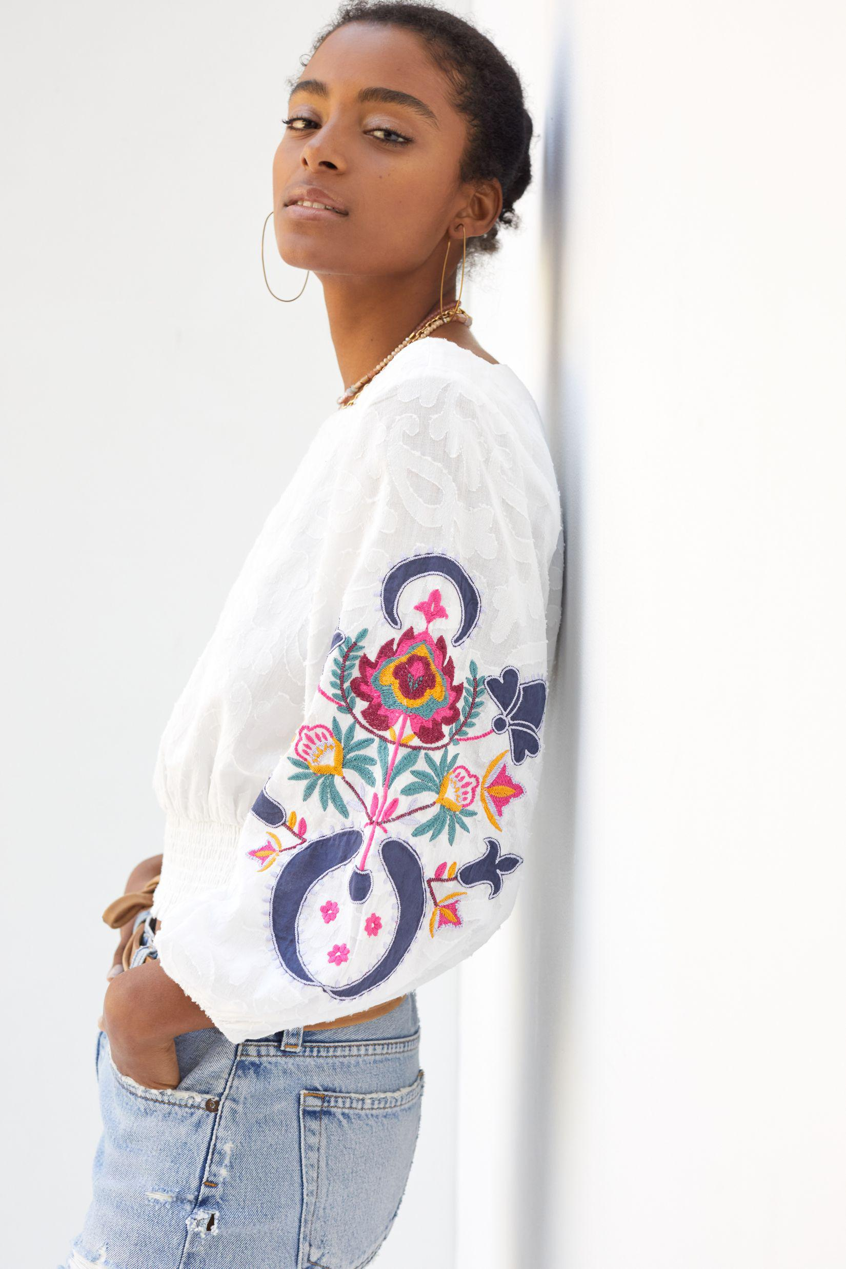 Embroidered Puff-Sleeve Blouse