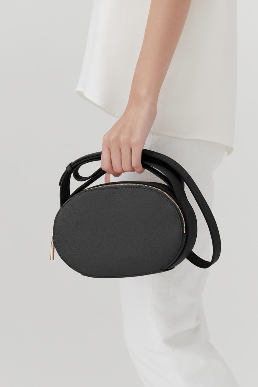 Women's Top Handle Crossbody Bag in Black   Pebbled Leather by Cuyana 5