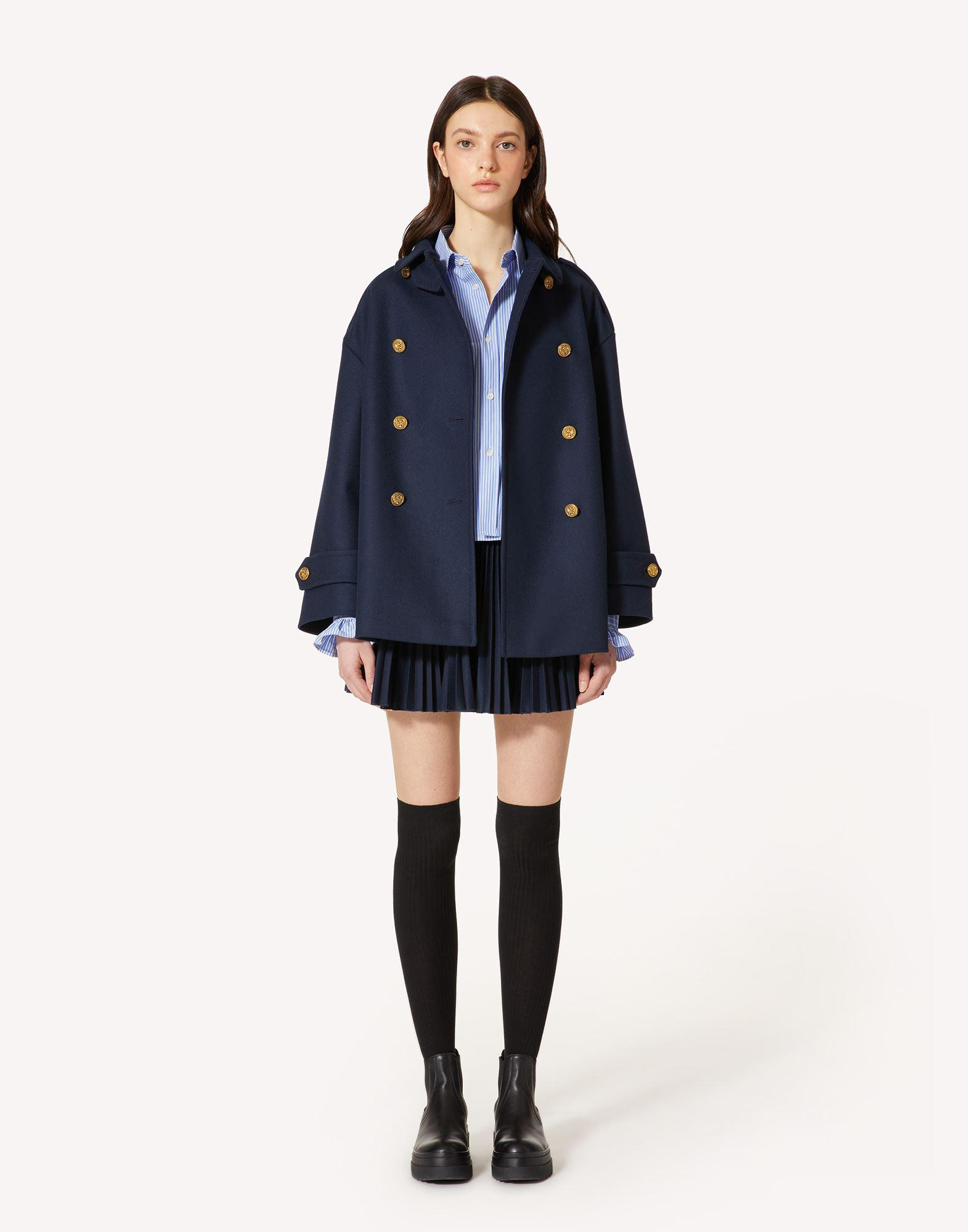 FELT WOOL PEA COAT WITH MARINE BUTTONS