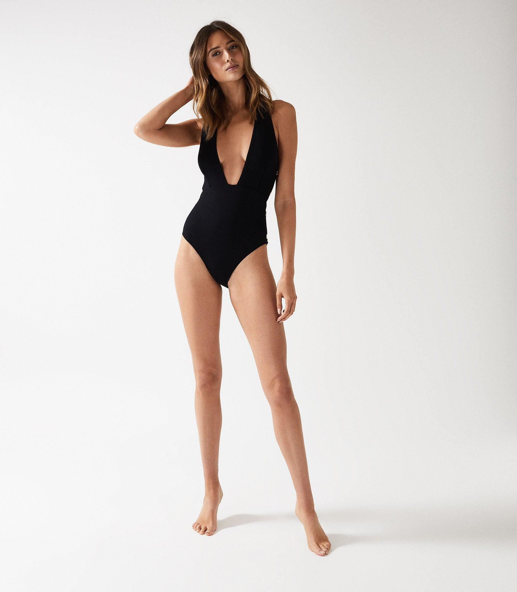 ORLA - PLUNGE SWIMSUIT WITH BUTTON DETAIL