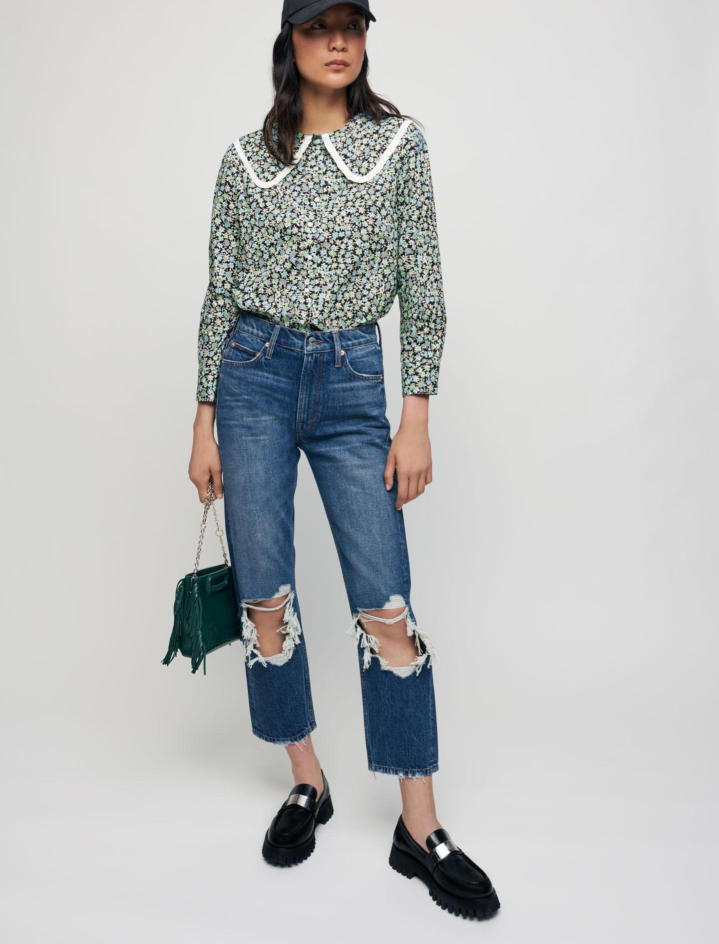 PRINTED COTTON SHIRT WITH LARGE COLLAR