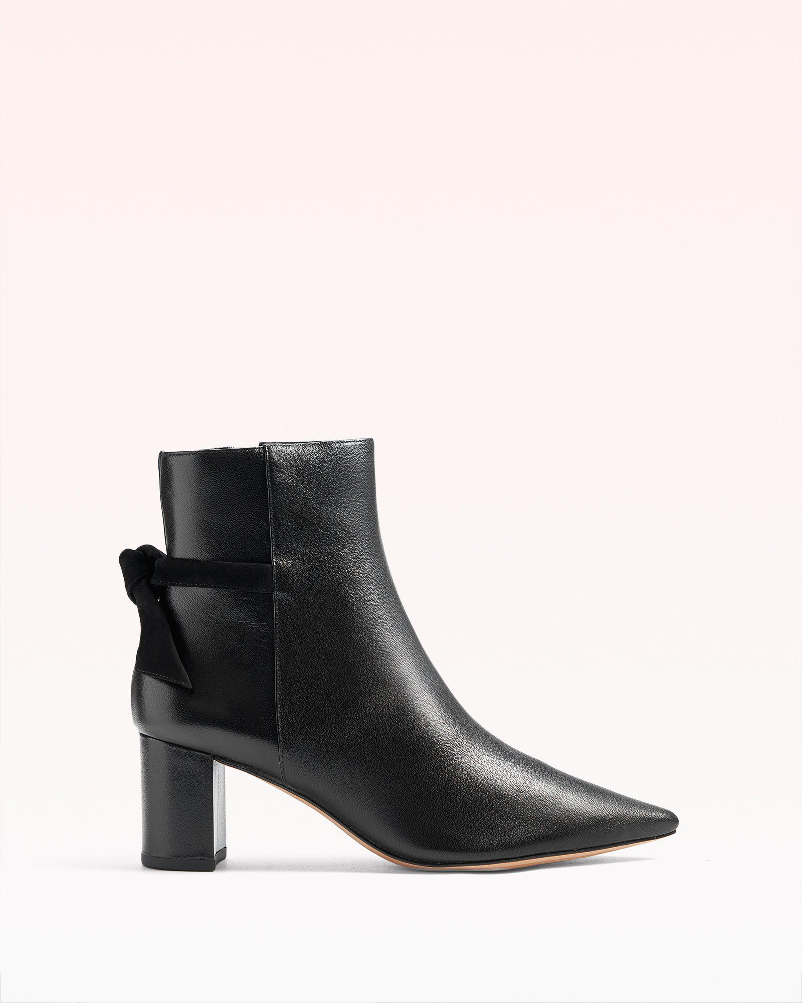 Clarita Pointed Toe Leather & Suede Bootie