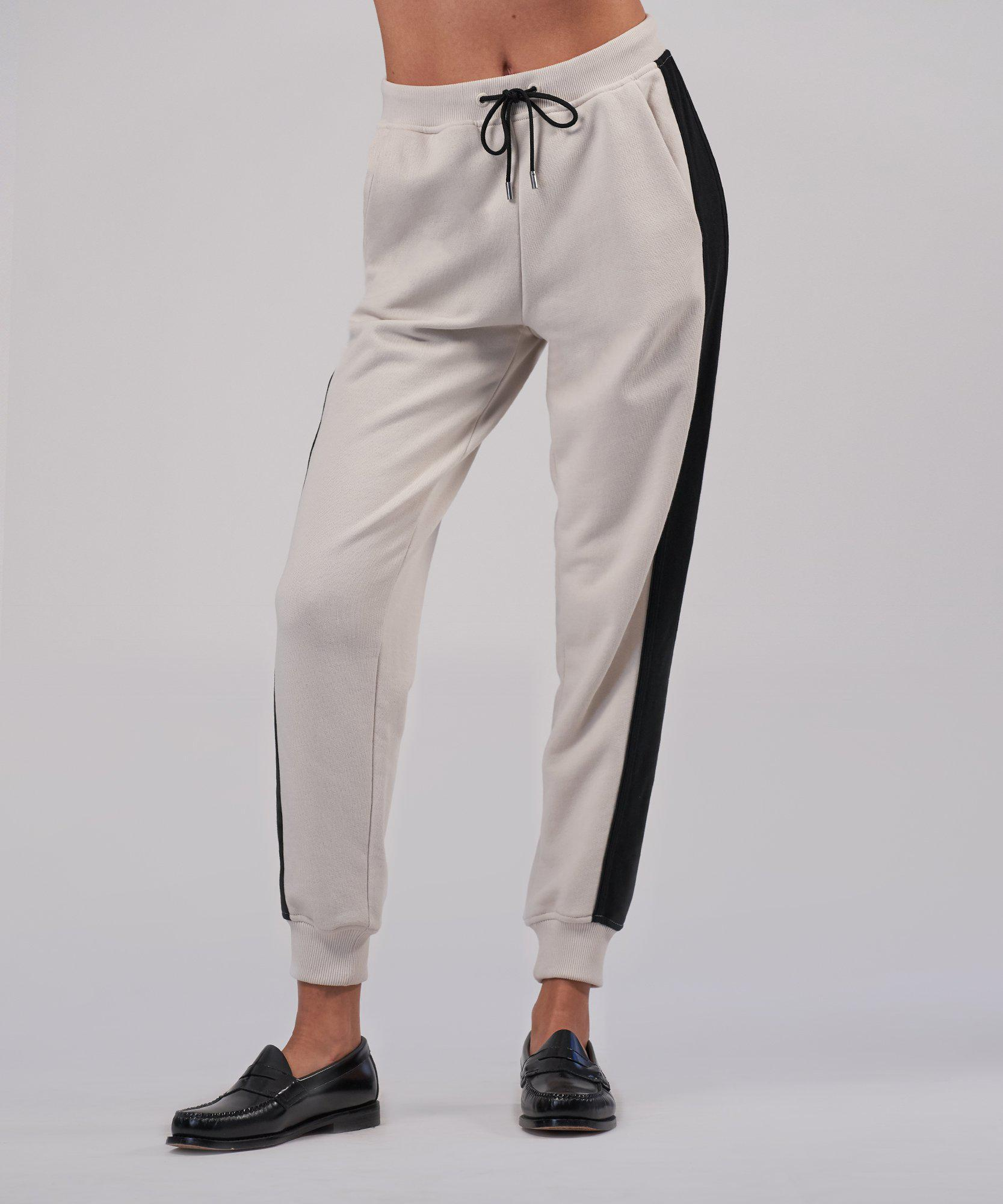French Terry Racing Stripe Pull-On Pants - Tan Combo